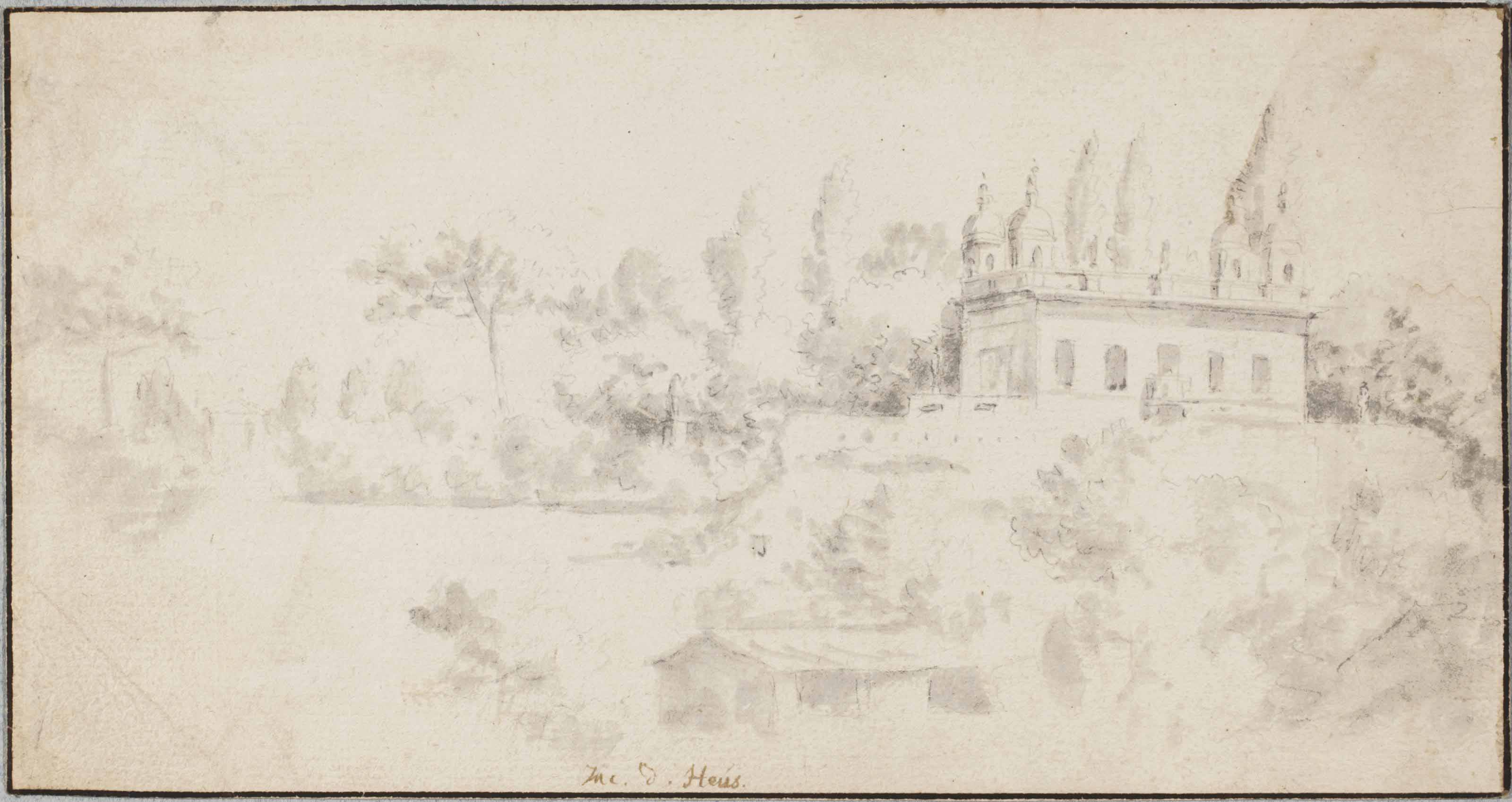 A villa amongst trees (recto); Studies of a sculpted head and a Classical rotonda (verso)