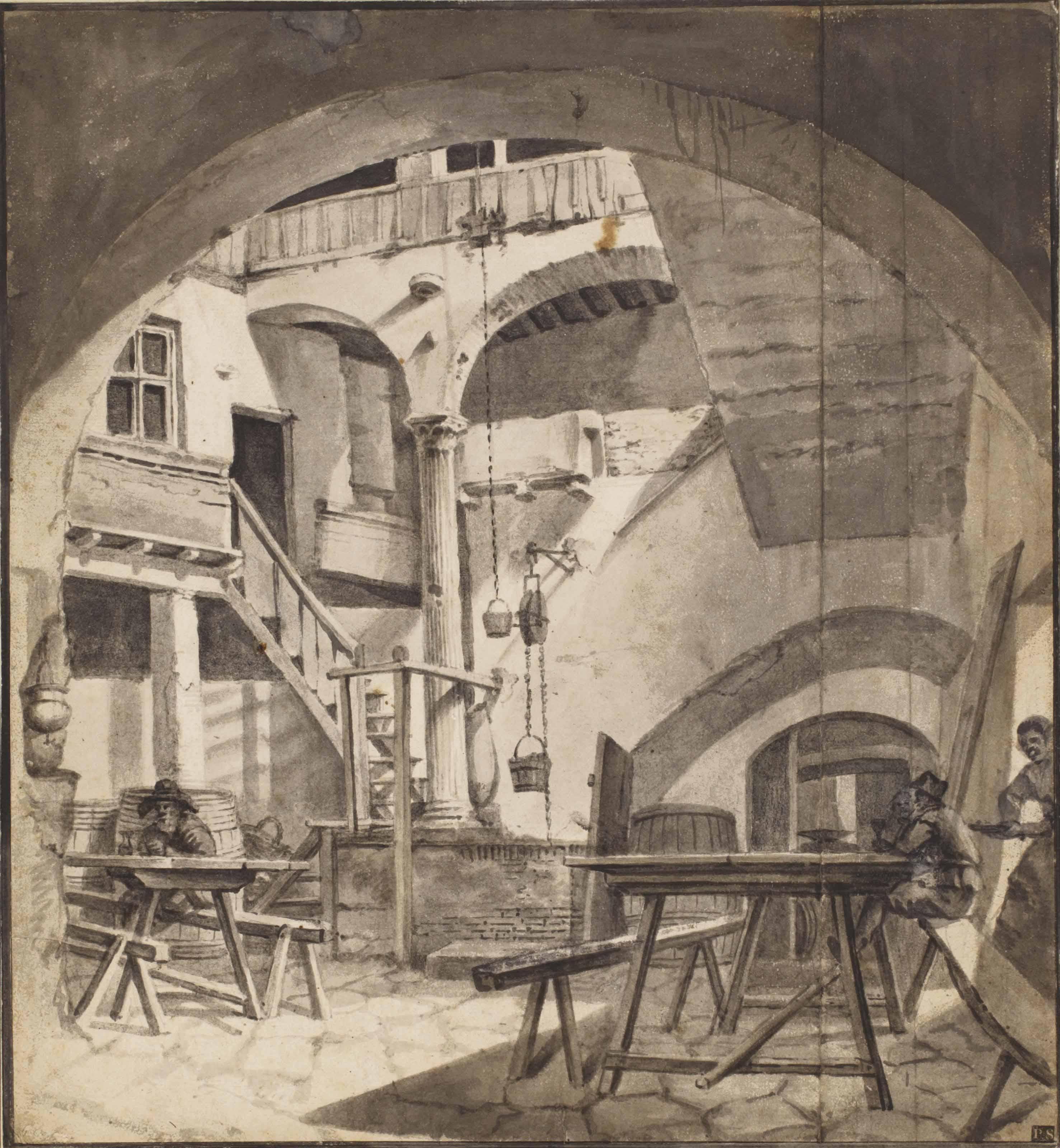 The courtyard of an Italian house, perhaps a tavern