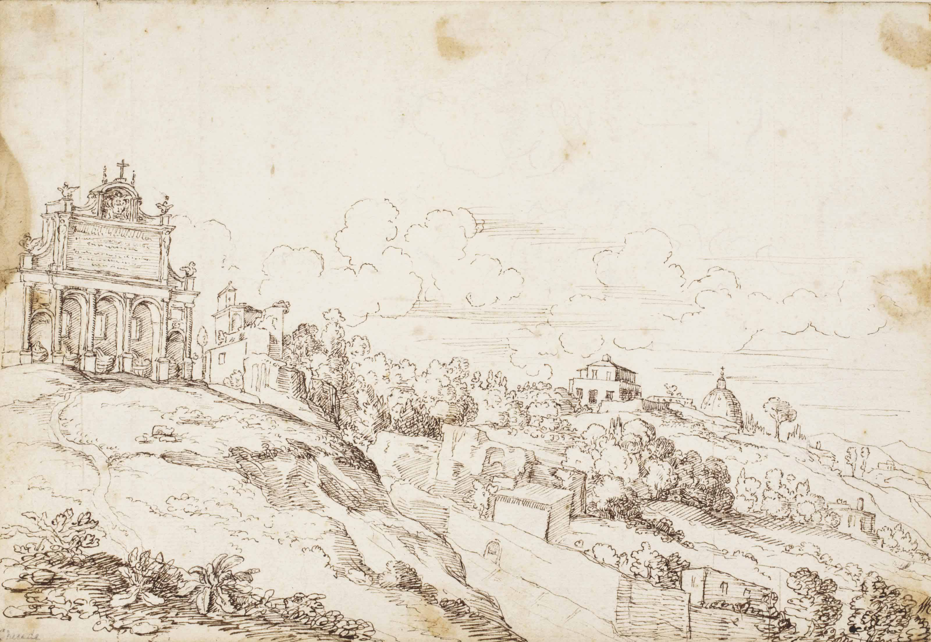 A hilly landscape with the Fontana Paola, Rome