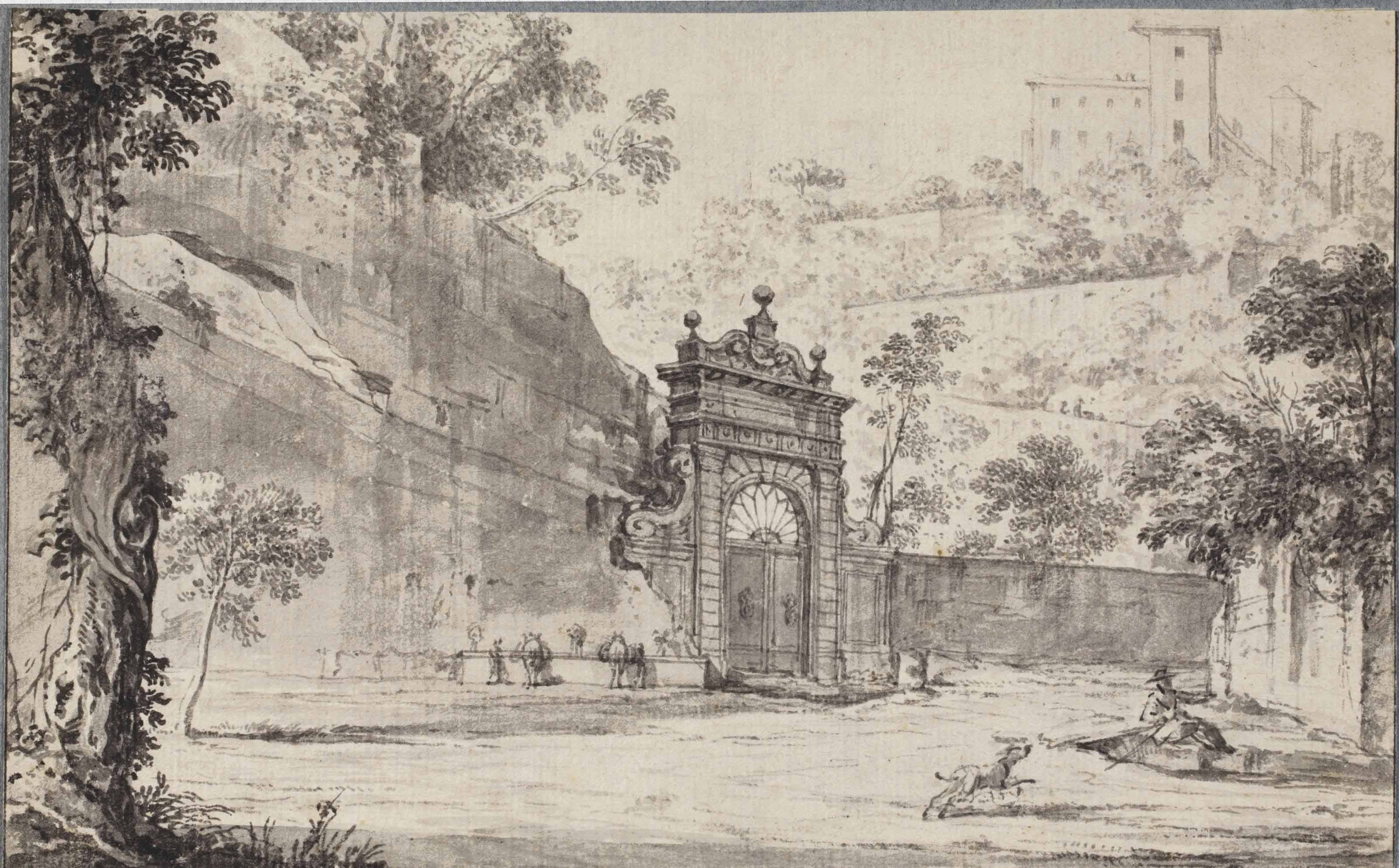 An entrance gate, probably in the Viale del Muro Torto, Rome