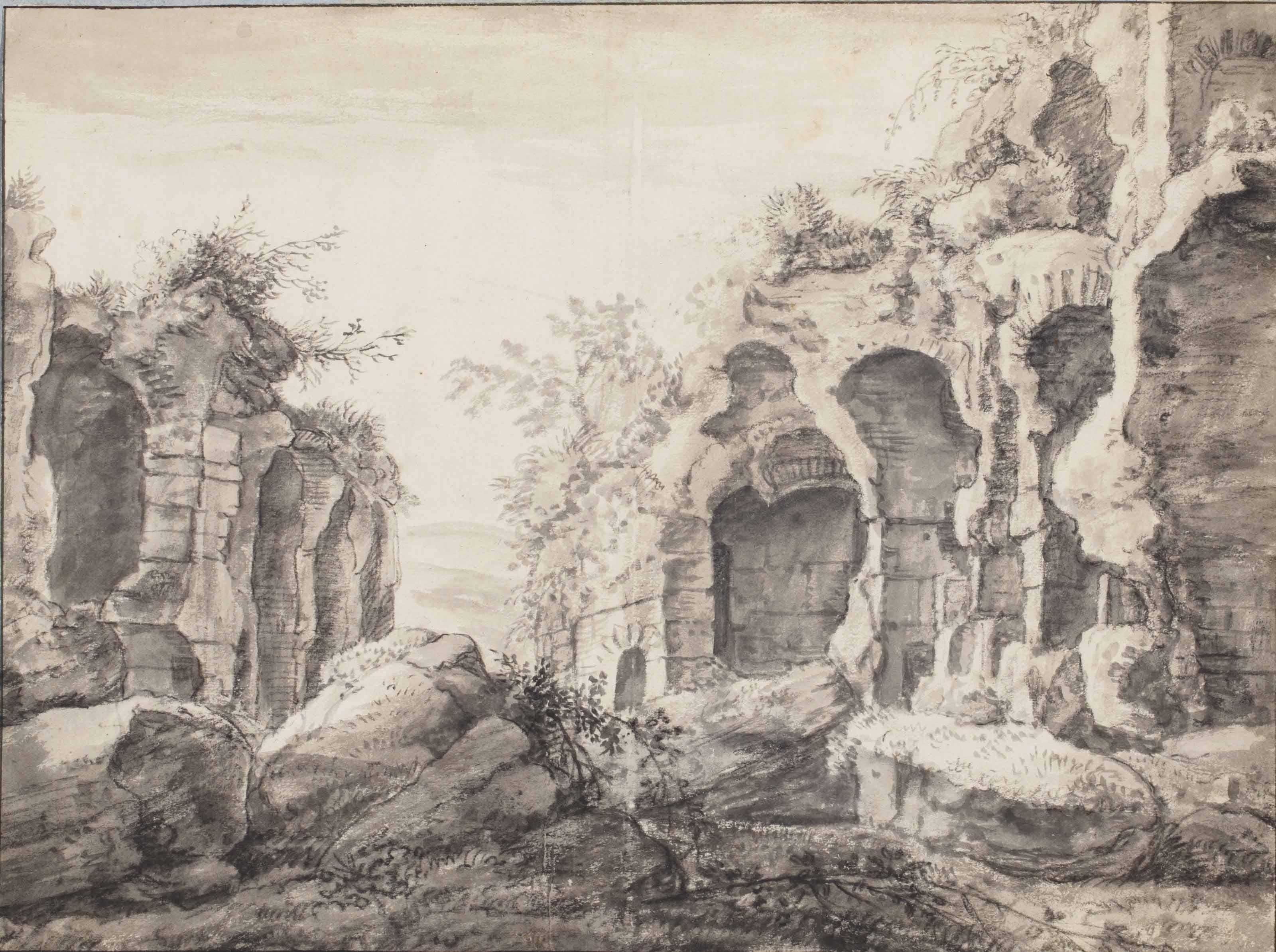 A capriccio of ruined Classical vaults