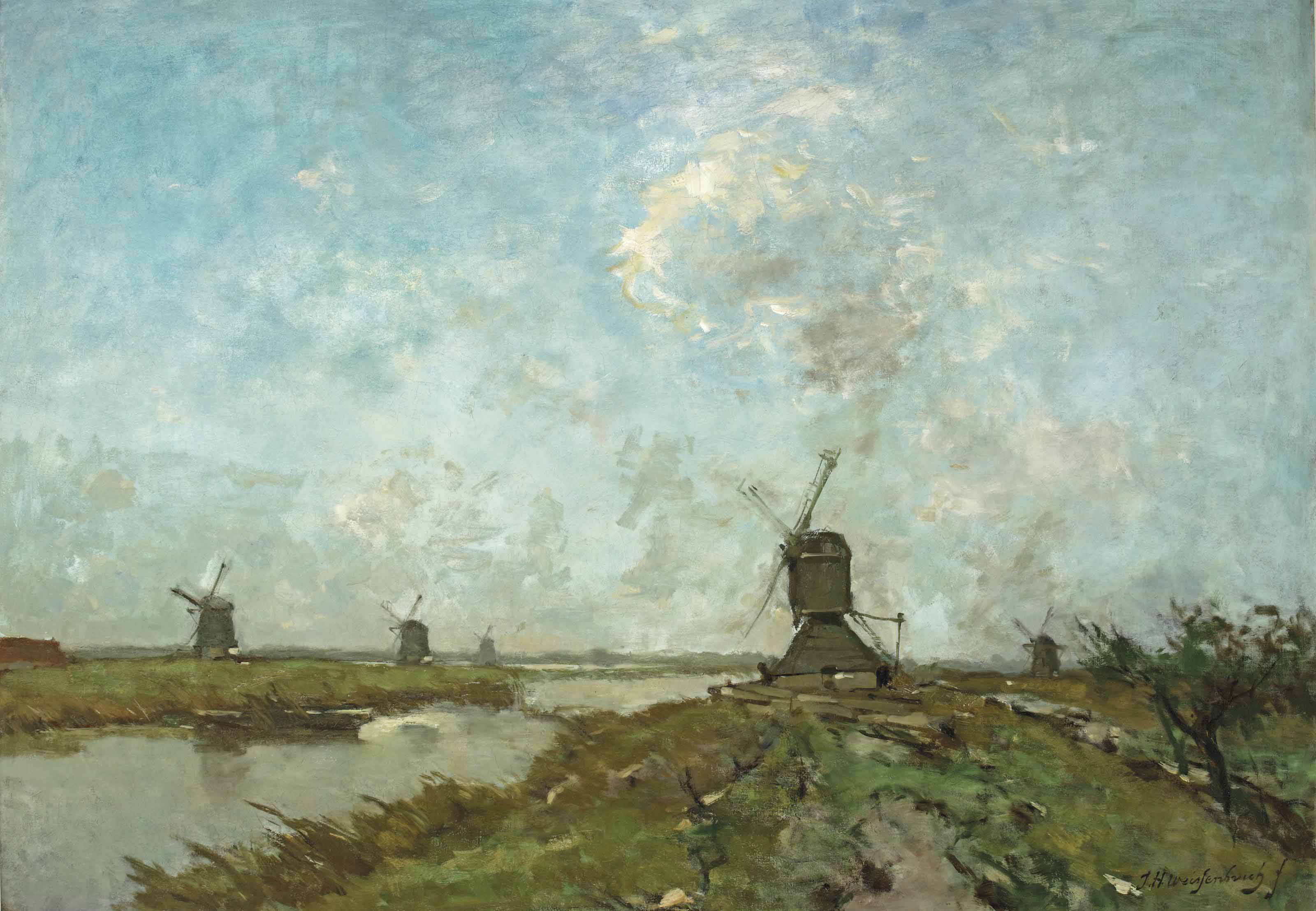 A extensive polder landscape with windmills