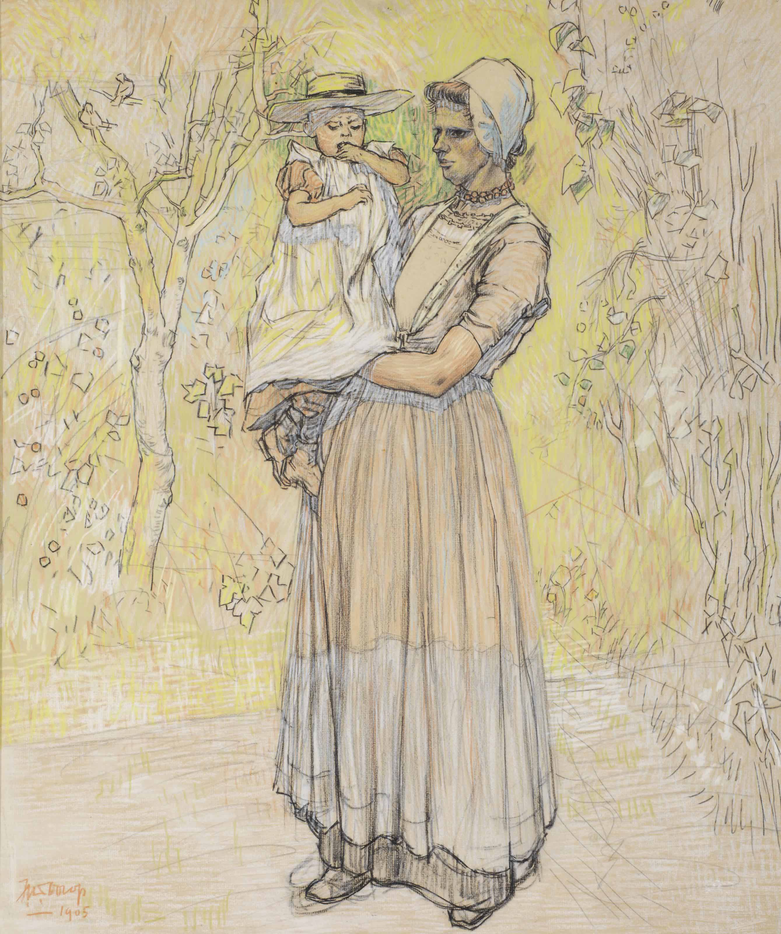 Woman with child in local Dutch attire, Zeeland