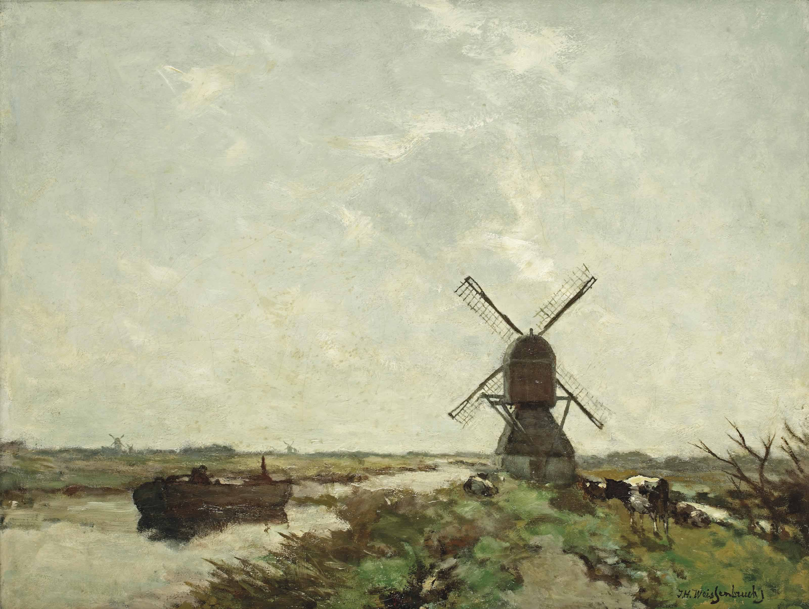 Polder landscape with a windmill and cows