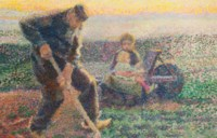 Machelen, un jardinier plantant ses choux