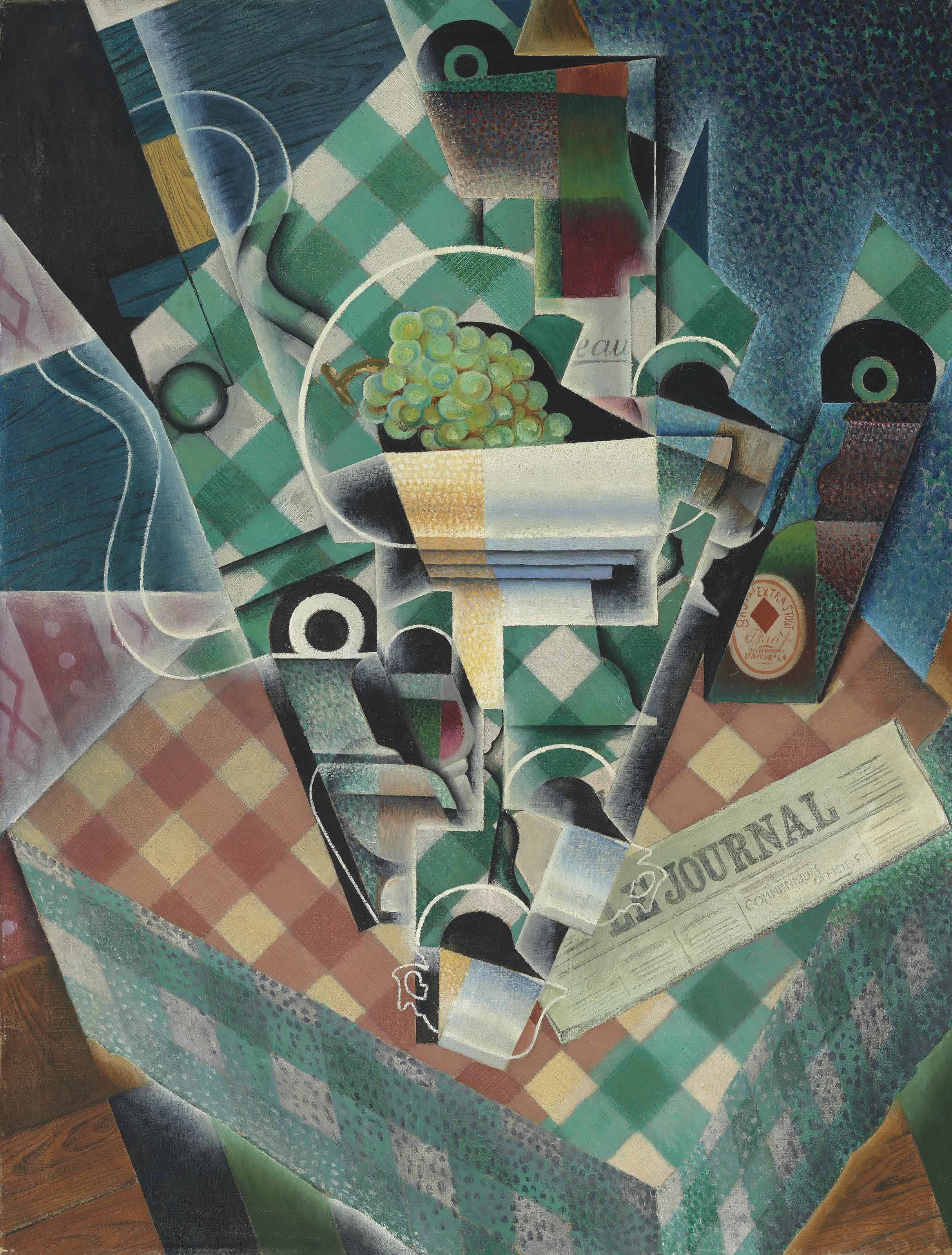 Juan Gris (1887-1927), Nature morte à la nappe à carreaux, 1915. Oil on canvas,45⅞ x 35⅛ in (116.5 x 89.3 cm). Sold for £34,802,500 on 4 February 2014at Christies in London