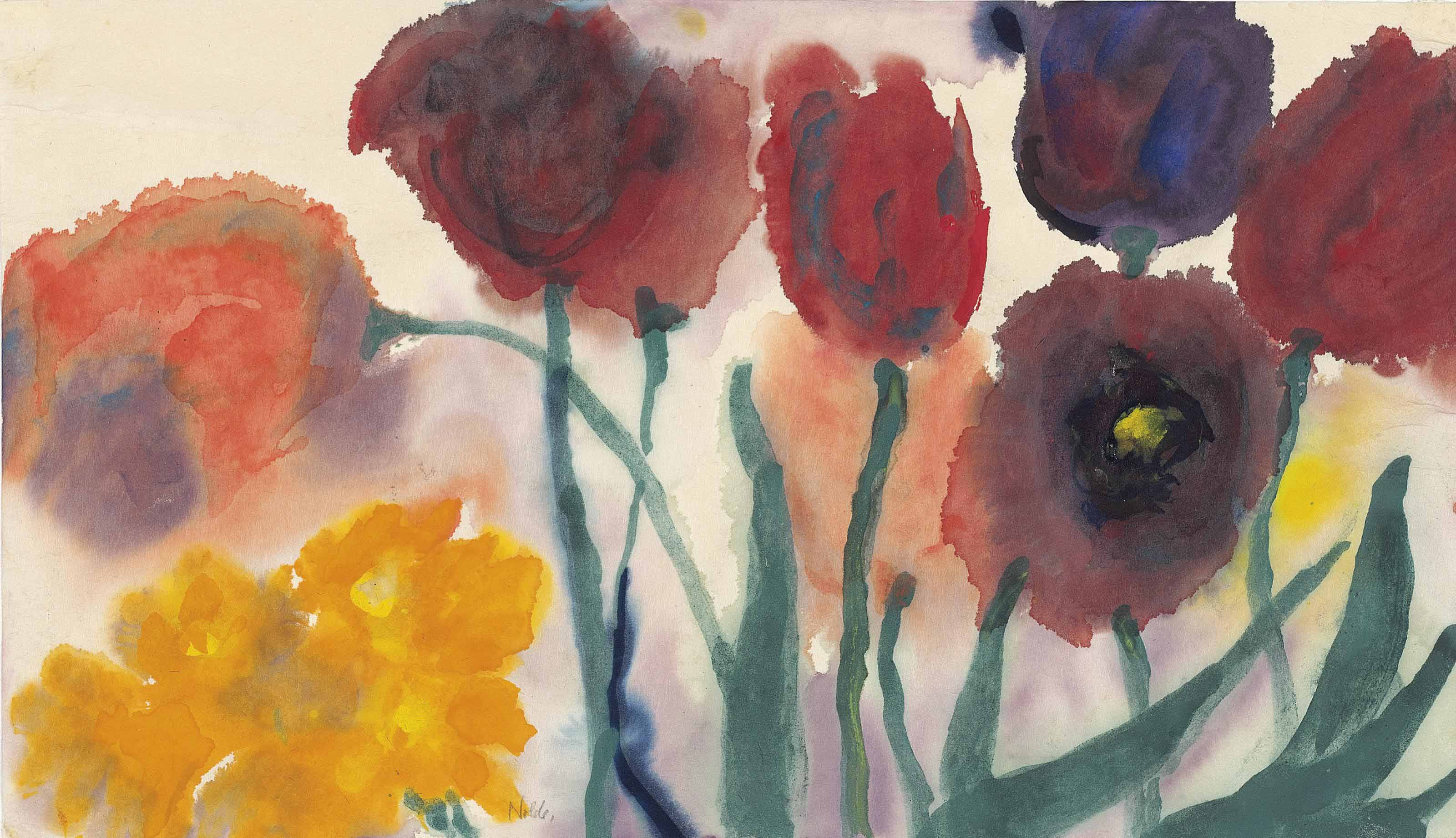 emil nolde 1867 1956 blumen aquarell mit tulpen und. Black Bedroom Furniture Sets. Home Design Ideas