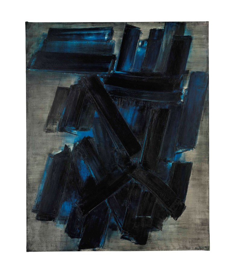 Pierre Soulages (b. 1919), Peinture 195 x 155 cm., 7 février 1957, painted in 1957. 76¾ x 61⅛ in (195 x 155 cm). Sold for £3,666,500 on 13 February 2014 at Christie's in London. © Pierre Soulages, DACS 2019
