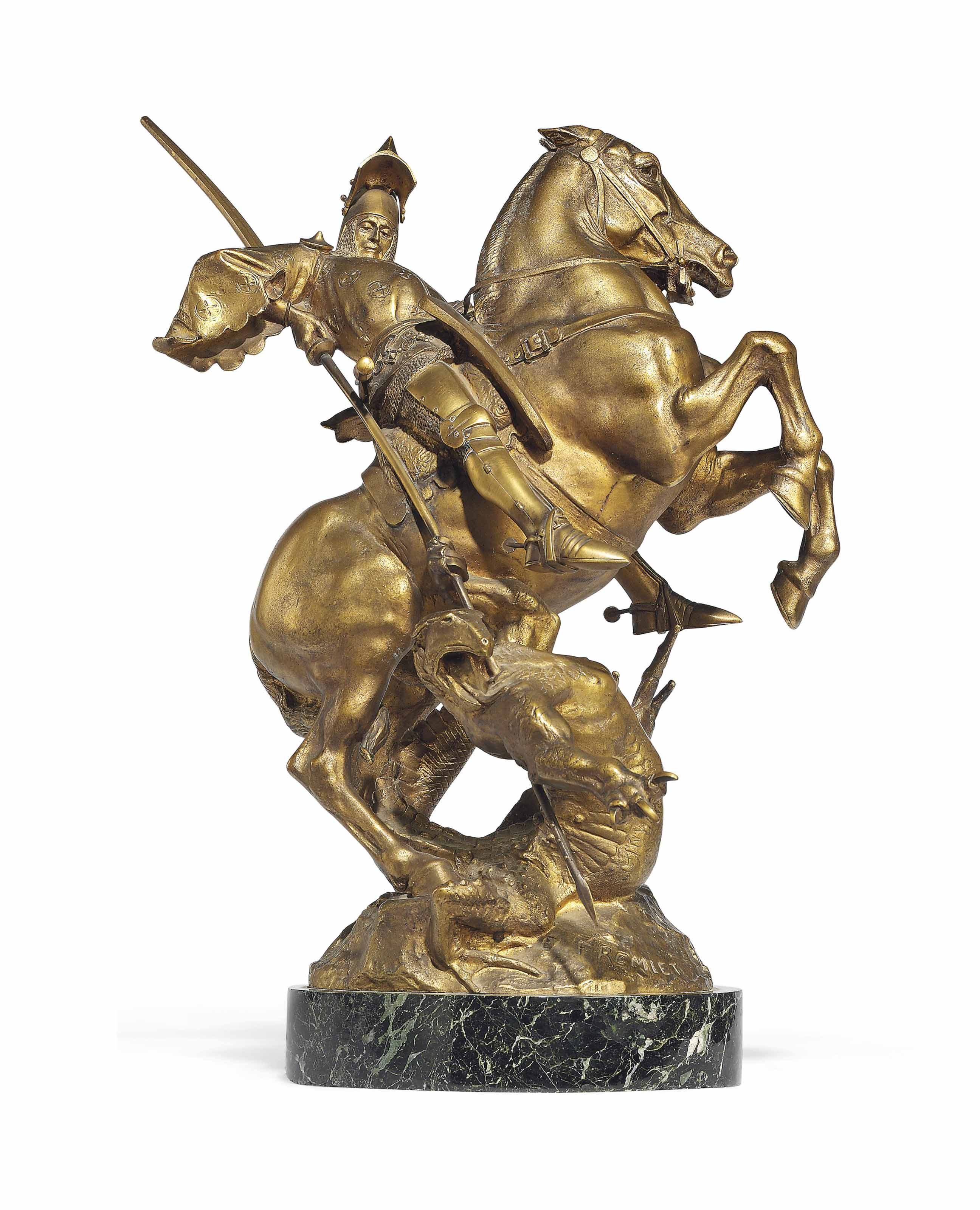 A FRENCH GILT-BRONZE GROUP OF SAINT GEORGE SLAYING THE DRAGON