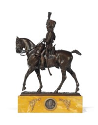 A FRENCH PATINATED BRONZE EQUESTRIAN GROUP OF A HUSSAR