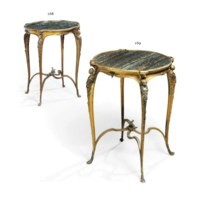 A FRENCH ORMOLU AND GREEN MARBLE GUERIDON