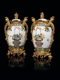 A PAIR OF FRENCH ORMOLU-MOUNTED SAMSON FAMILLE VERT PORCELAIN VASES AND COVERS