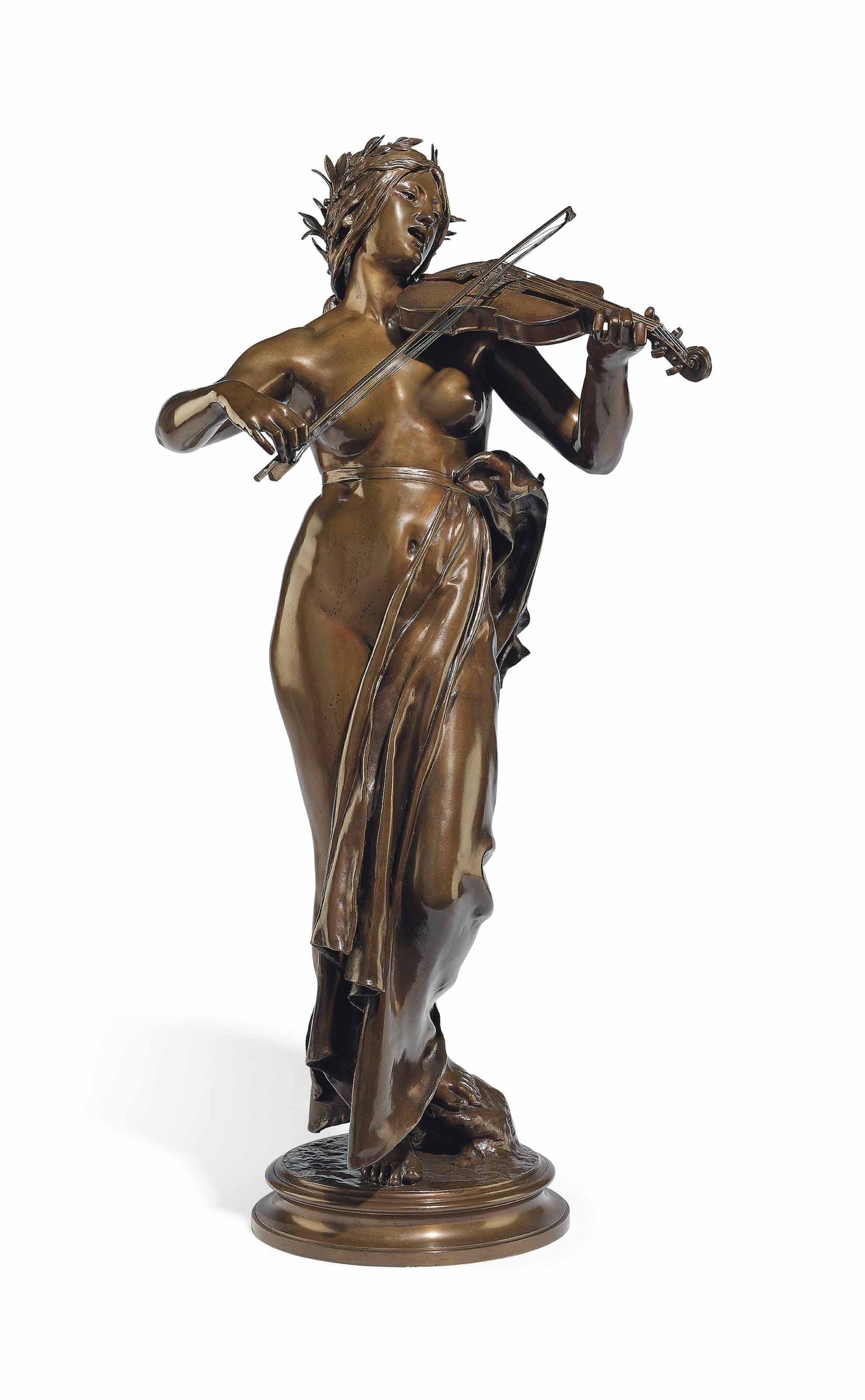 A FRENCH BRONZE FIGURE OF A VIOLINIST