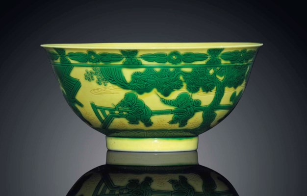 A RARE GREEN AND YELLOW-ENAMEL