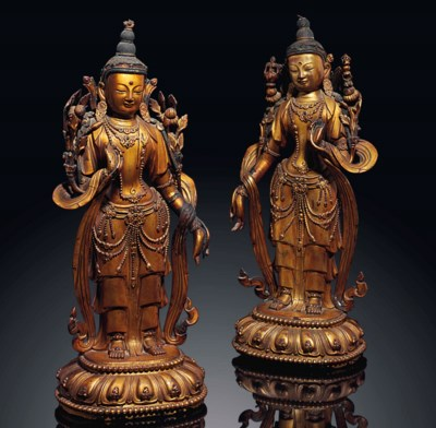 A PAIR OF GILT-LACQUERED WOOD