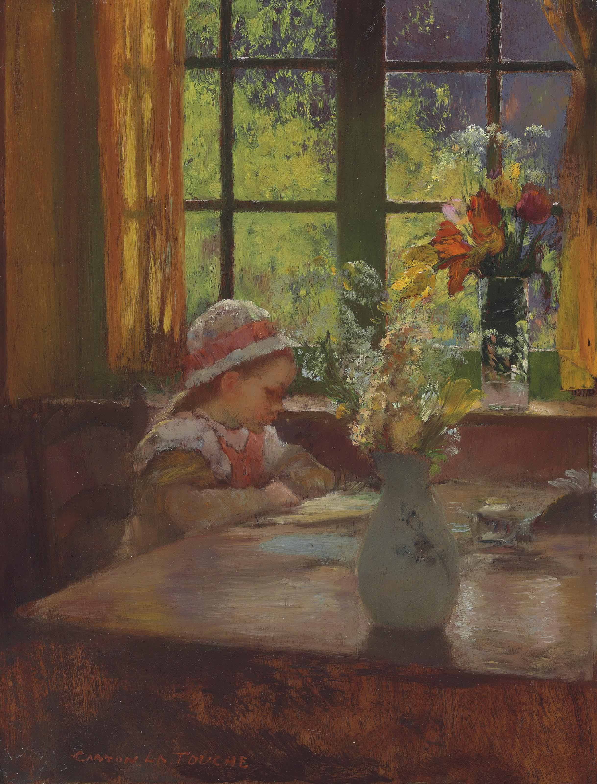 A young girl with bonnet reading by a window