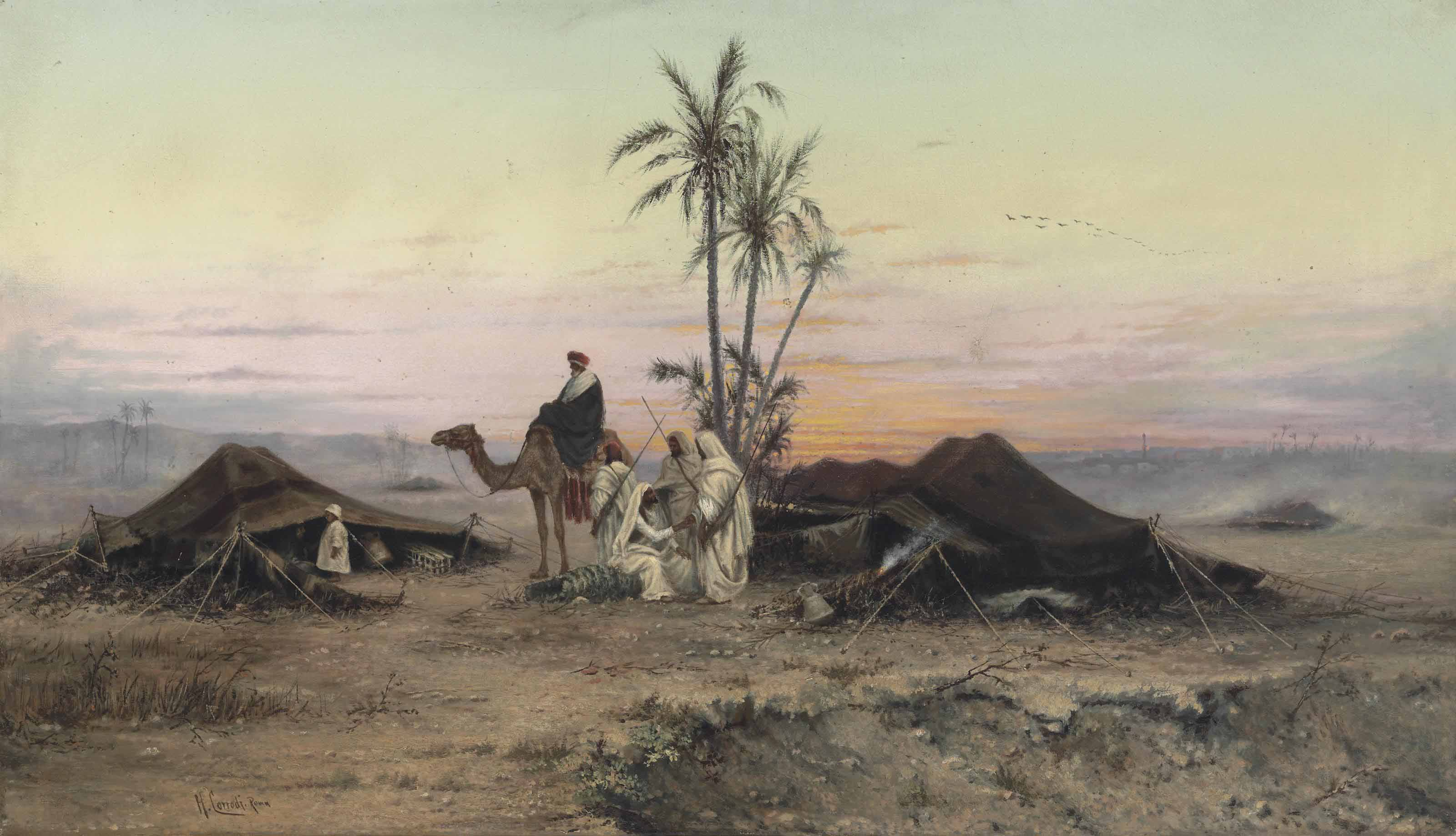 A Bedouin camp at dusk