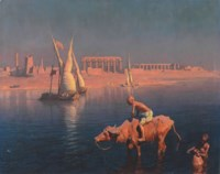 Water carriers and feluccas in front of the Temple of Philae, Egypt