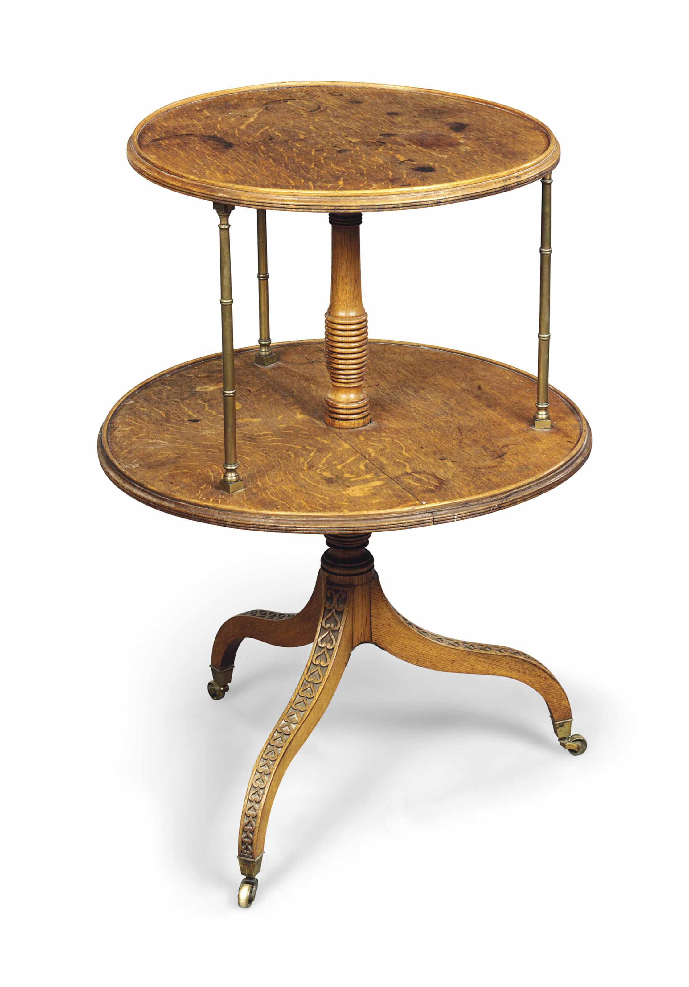 A REGENCY OAK TWO-TIER DUMB-WAITER