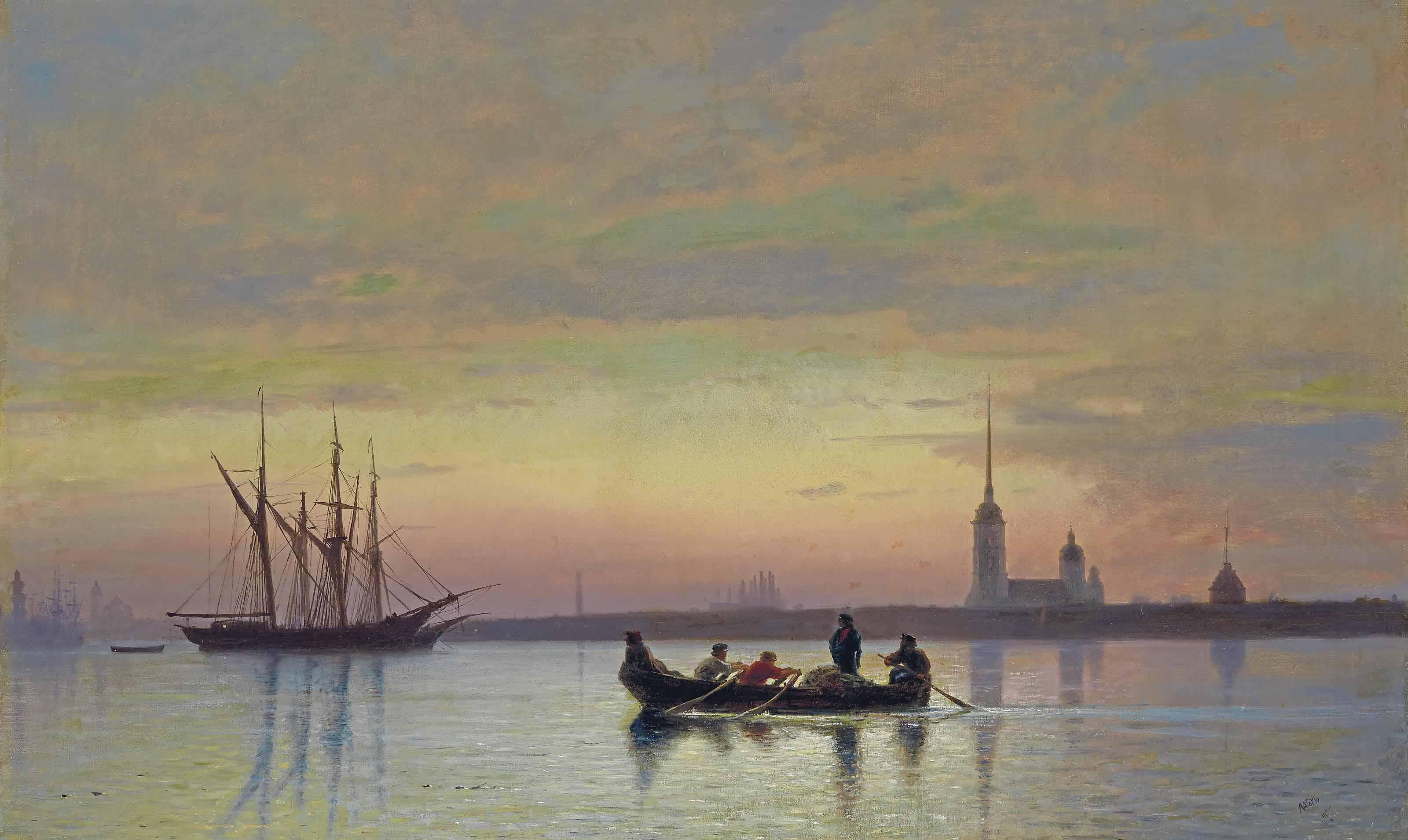 The Neva at dusk, St Petersburg