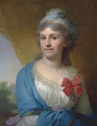 Portrait of Daria Aleksandrovna Valueva, née Kosheleva (1757-1836), wearing the Order of St Catherine, Second Class