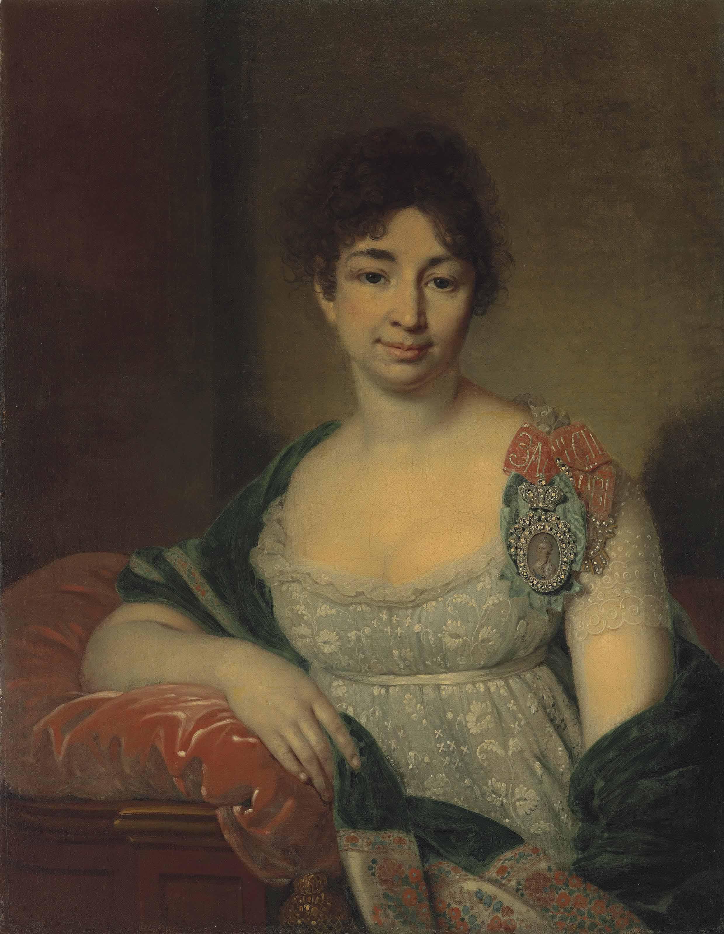 Portrait of Princess Ekaterina Nikolaevna Lopukhina, née Shetneva (1763-1839), wearing a Lady of Honour insignia and the Order of St Catherine