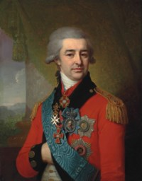 Portrait of Prince Petr Vasilievich Lopukhin (1753-1827), wearing the star and sash of the Order of St Andrew, the star and cross of the Order of St Vladimir, the Order of Alexander Nevskii, the Order of Malta and a diamond portrait badge
