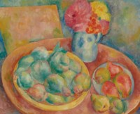 Still life with pears and flowers