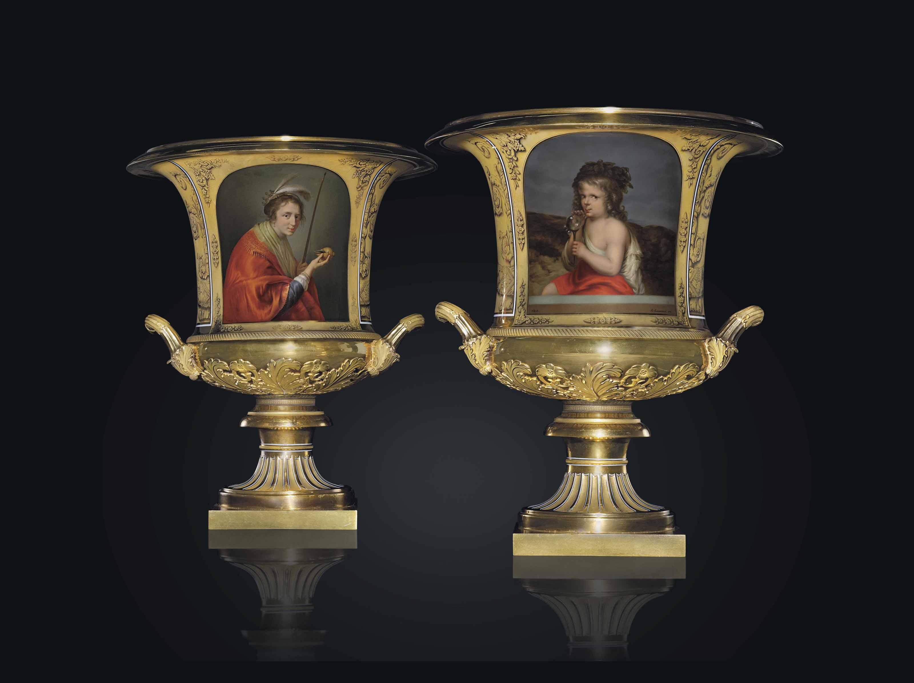 A PAIR OF RARE AND LARGE TWO-HANDLED PORCELAIN VASES
