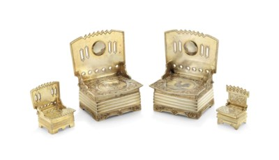 A PAIR OF PARCEL-GILT SILVER A