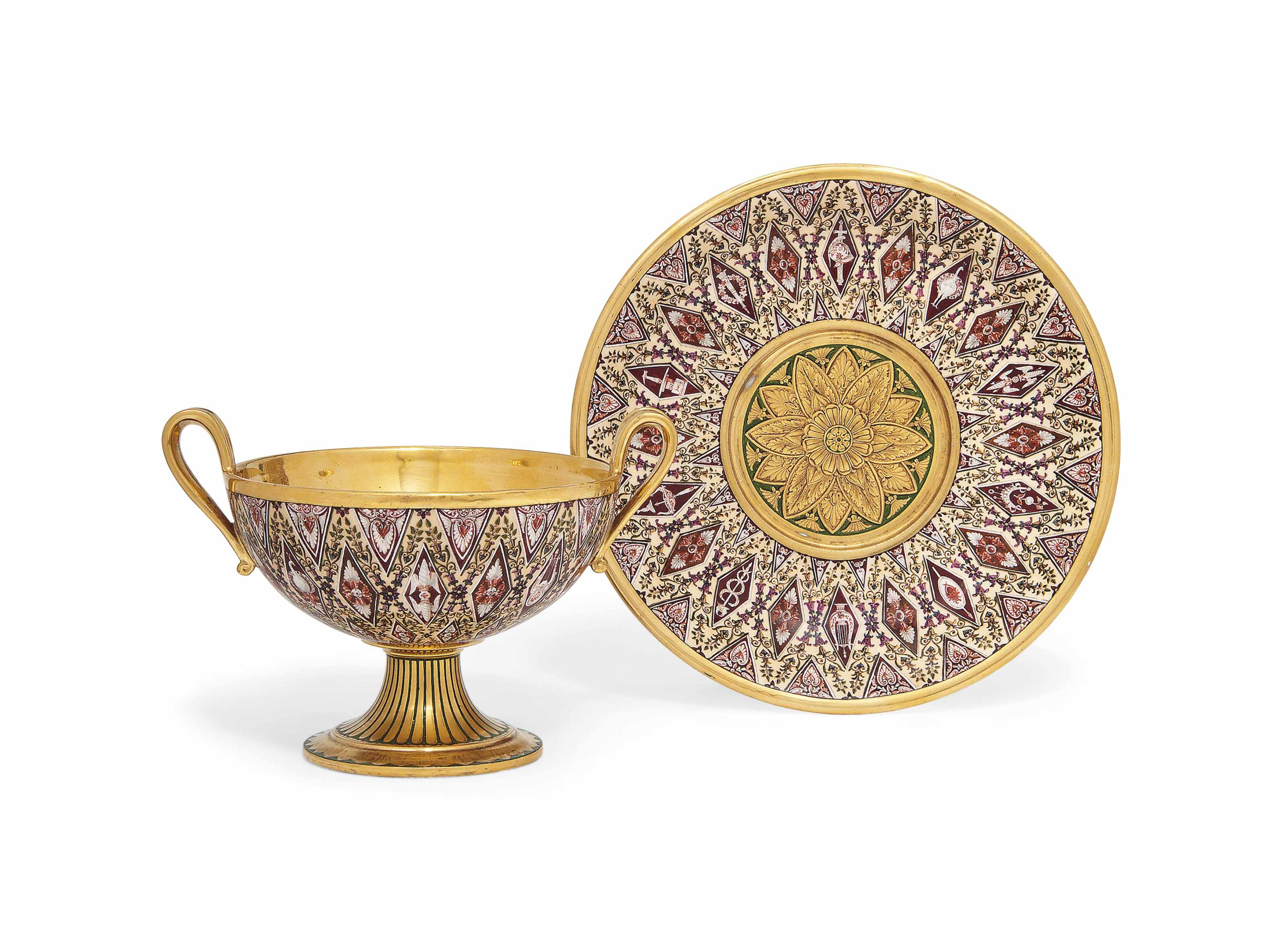 A SEVRES (HARD PASTE) TWO-HANDLED CUP AND STAND (COUPE 'HEMISPHERIQUE A BOUILLON')