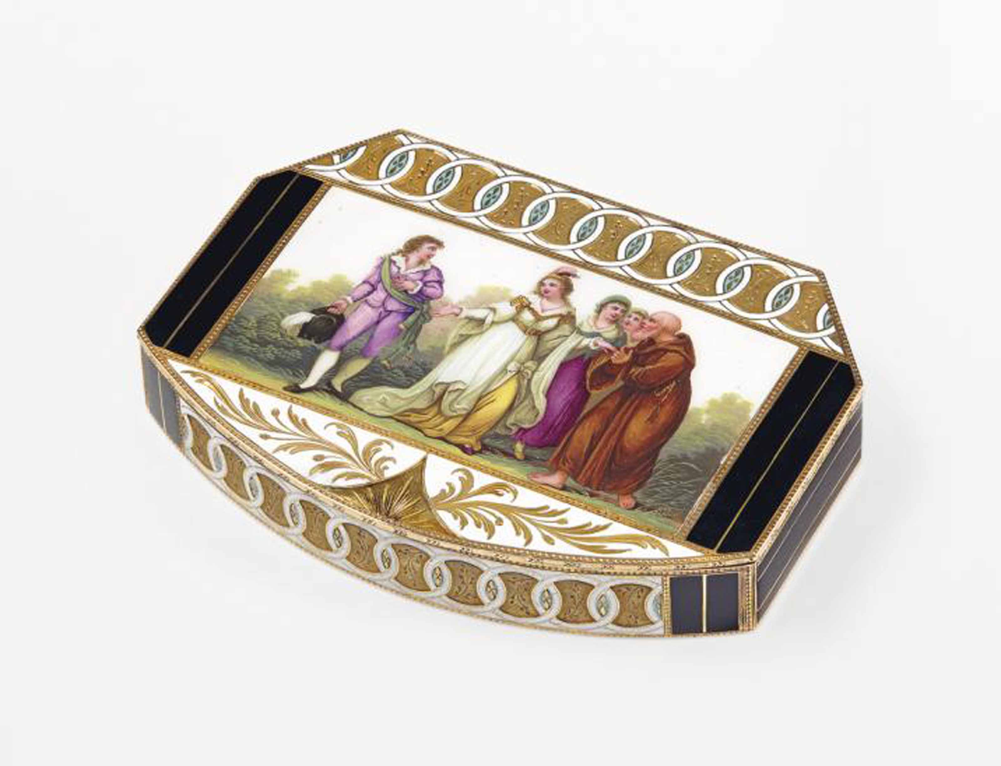 A GERMAN ENAMELLED GOLD SNUFF-BOX SET WITH AN ENAMEL PLAQUE