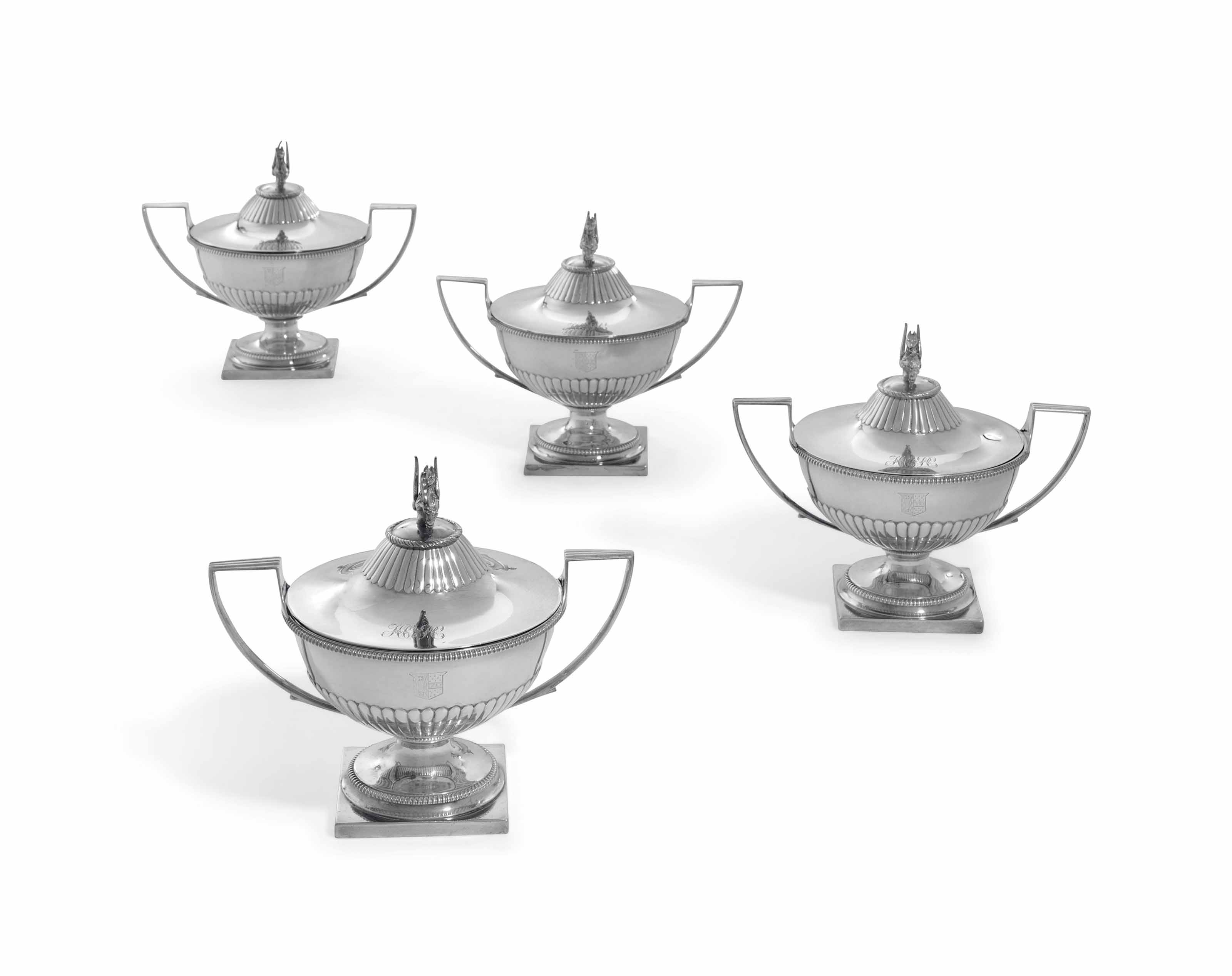 A SET OF FOUR GEORGE III SILVER SAUCE-TUREENS AND COVERS