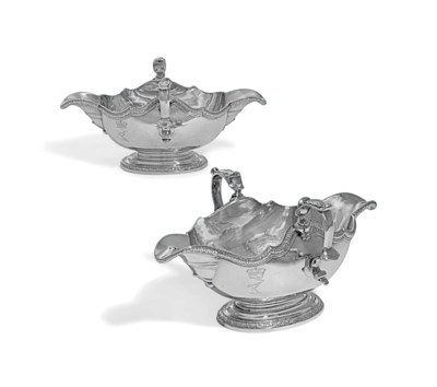 A PAIR OF GEORGE II SILVER DOU