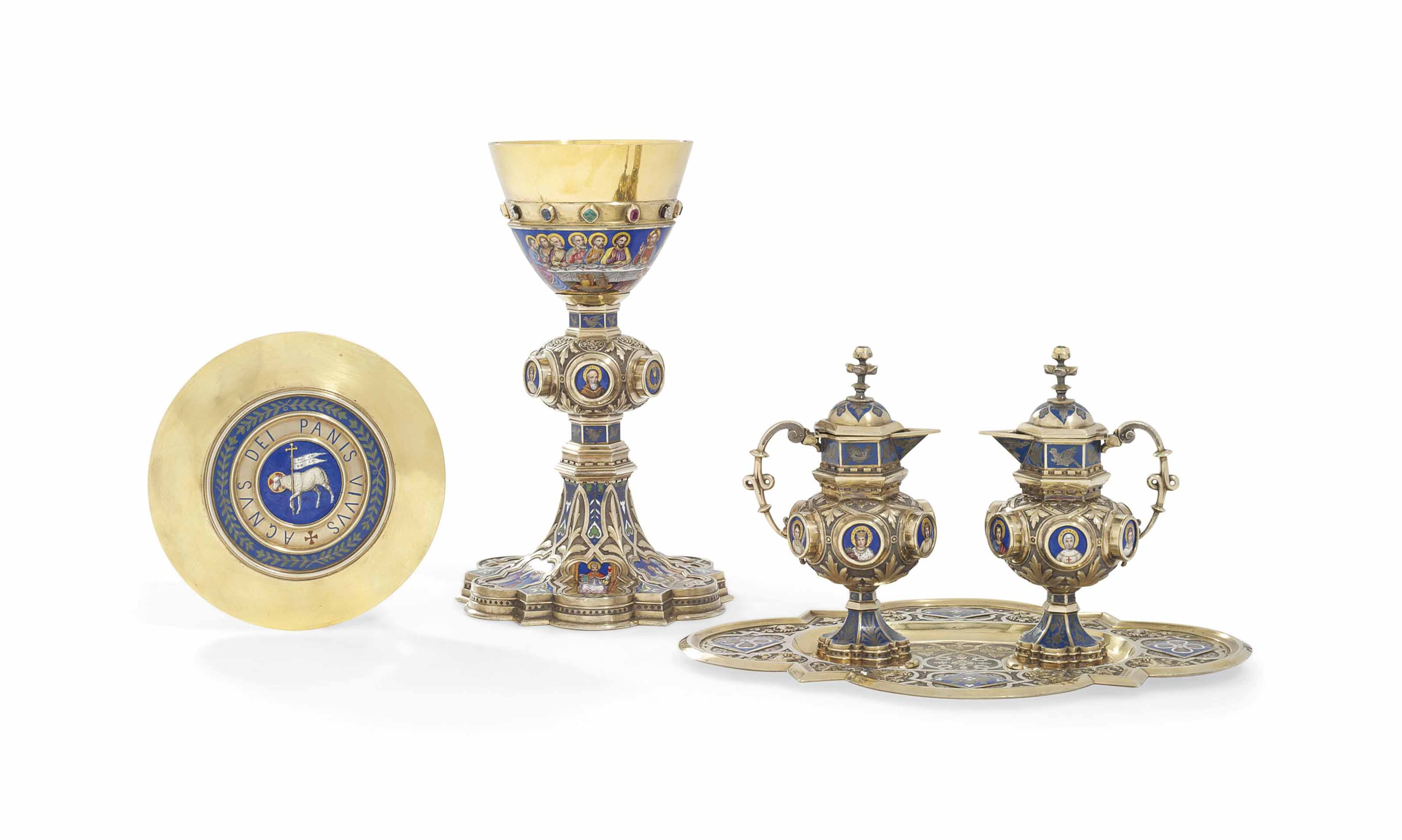 A FRENCH SILVER-GILT, GOLD AND ENAMEL COMMUNION-SERVICE