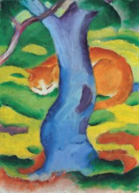 Kinderbild (Katze hinter einem Baum)