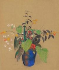 Fleurs dans une cruche bleue