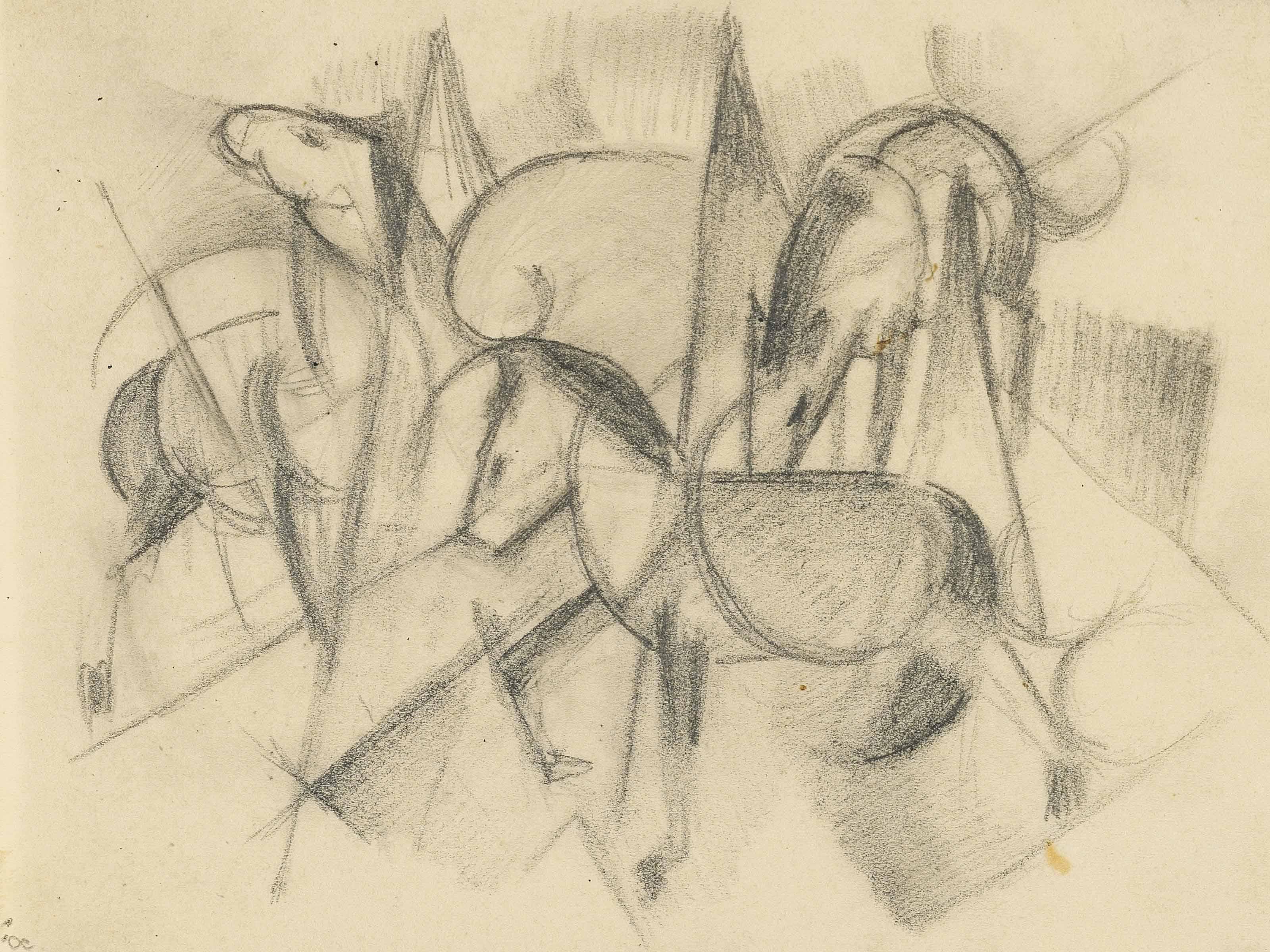 Drei Pferde mit abstrakten Formen