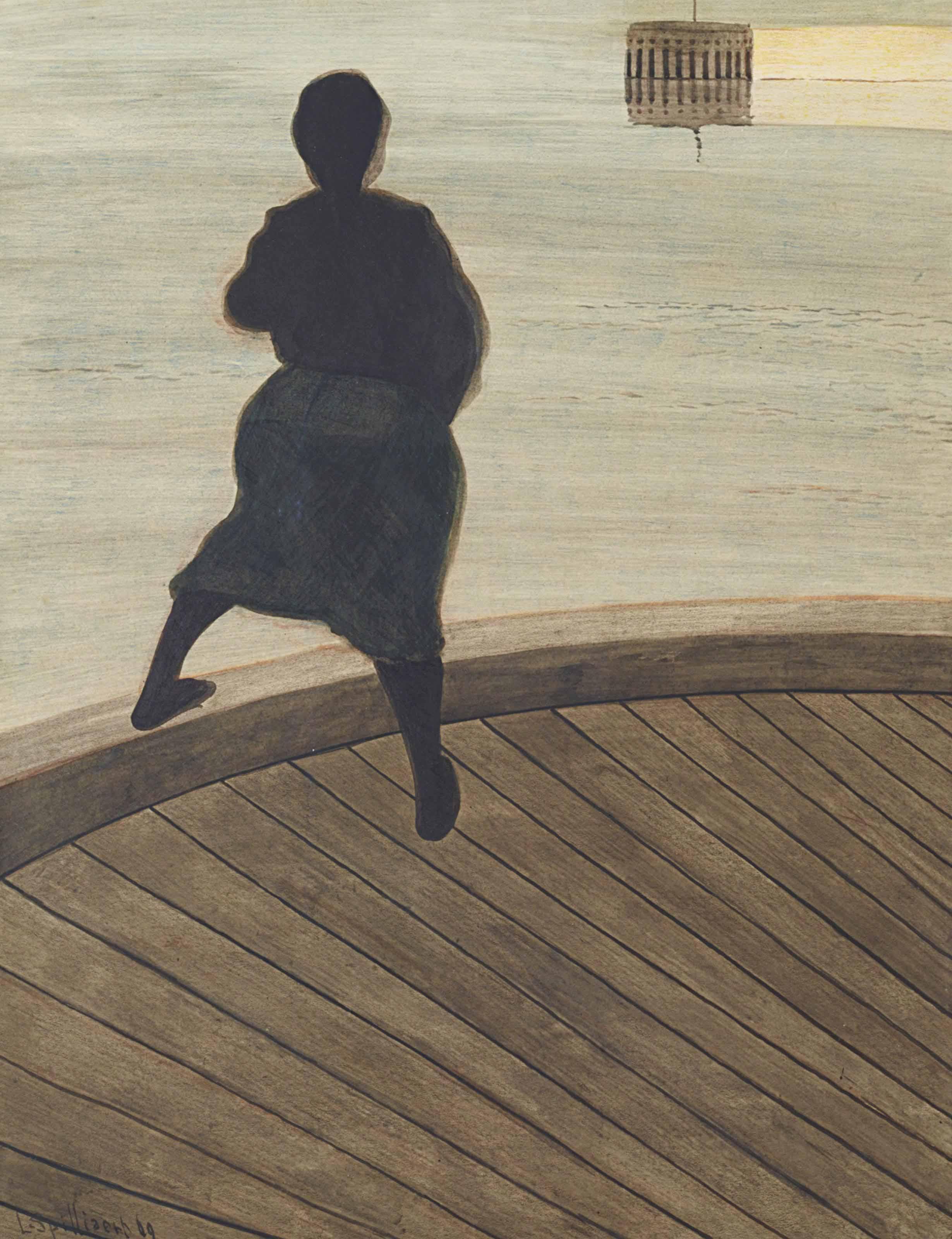 Femme de pêcheur sur un ponton