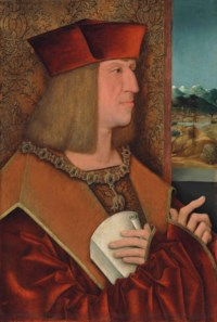 Portrait of Maximilian I, Holy Roman Emperor (1459-1519), half-length, in a red mantle, wearing the collar of the Order of the Golden Fleece, holding a letter, against a damask curtain, a mountainous landscape beyond