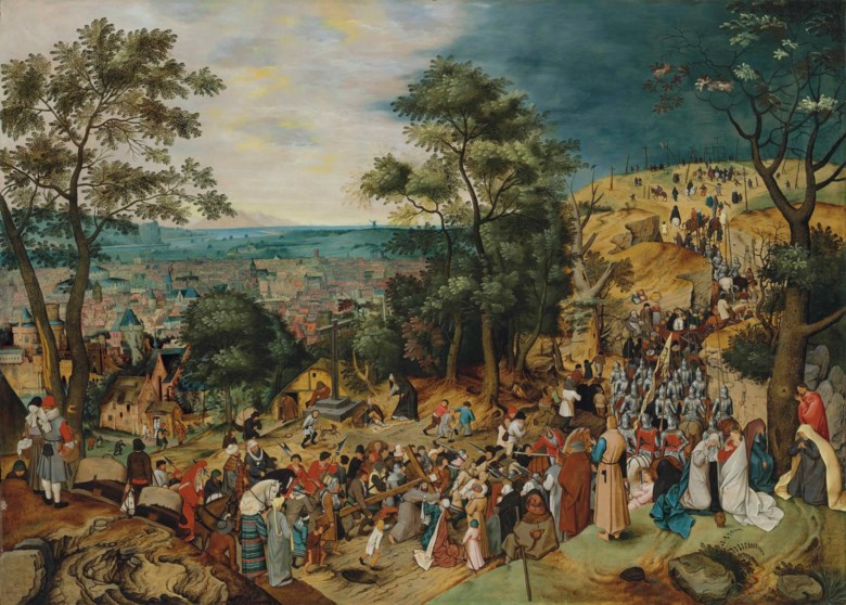 Pieter Brueghel the Younger (15645-16378), The Road to Calvary. 48 x 67  in (122 x 170.3  cm). Sold for £5,514,500 on 8 July 2014 at Christie's in London