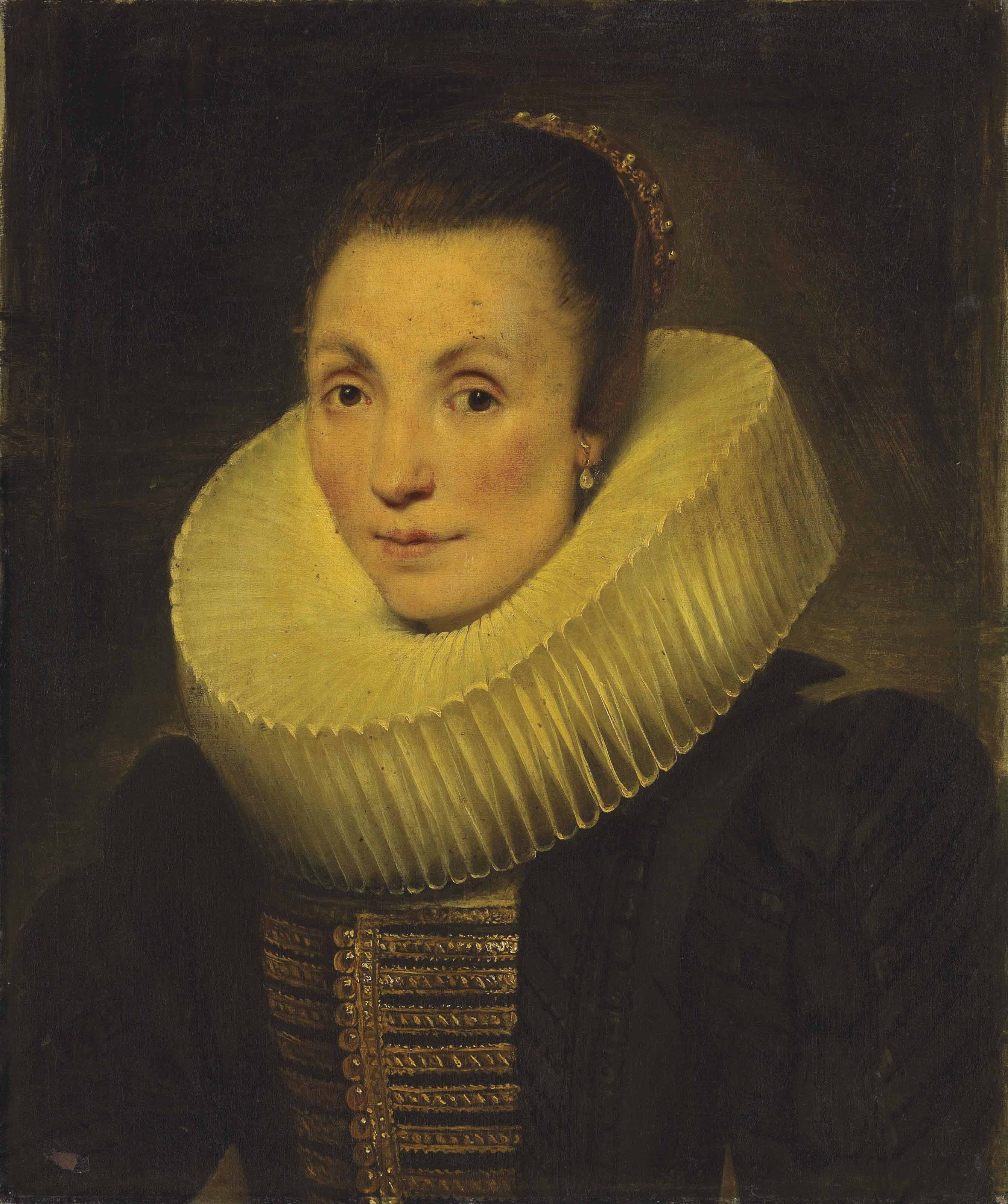 Portrait of a lady, half-length, in a black dress with gold embroidery and a ruff