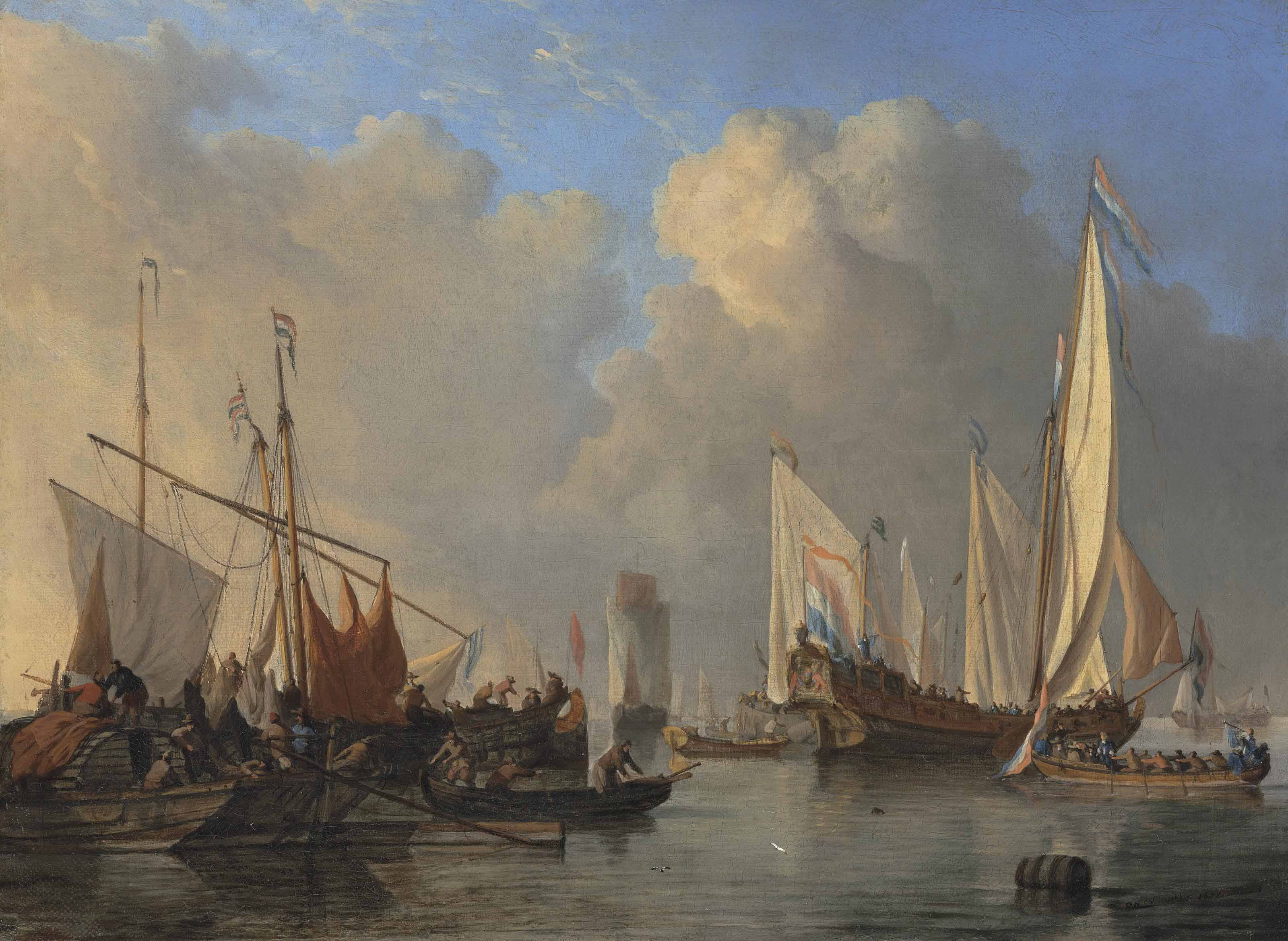 A Dutch States Yacht, a smalschip, a Rhine aak and other vessels in a calm