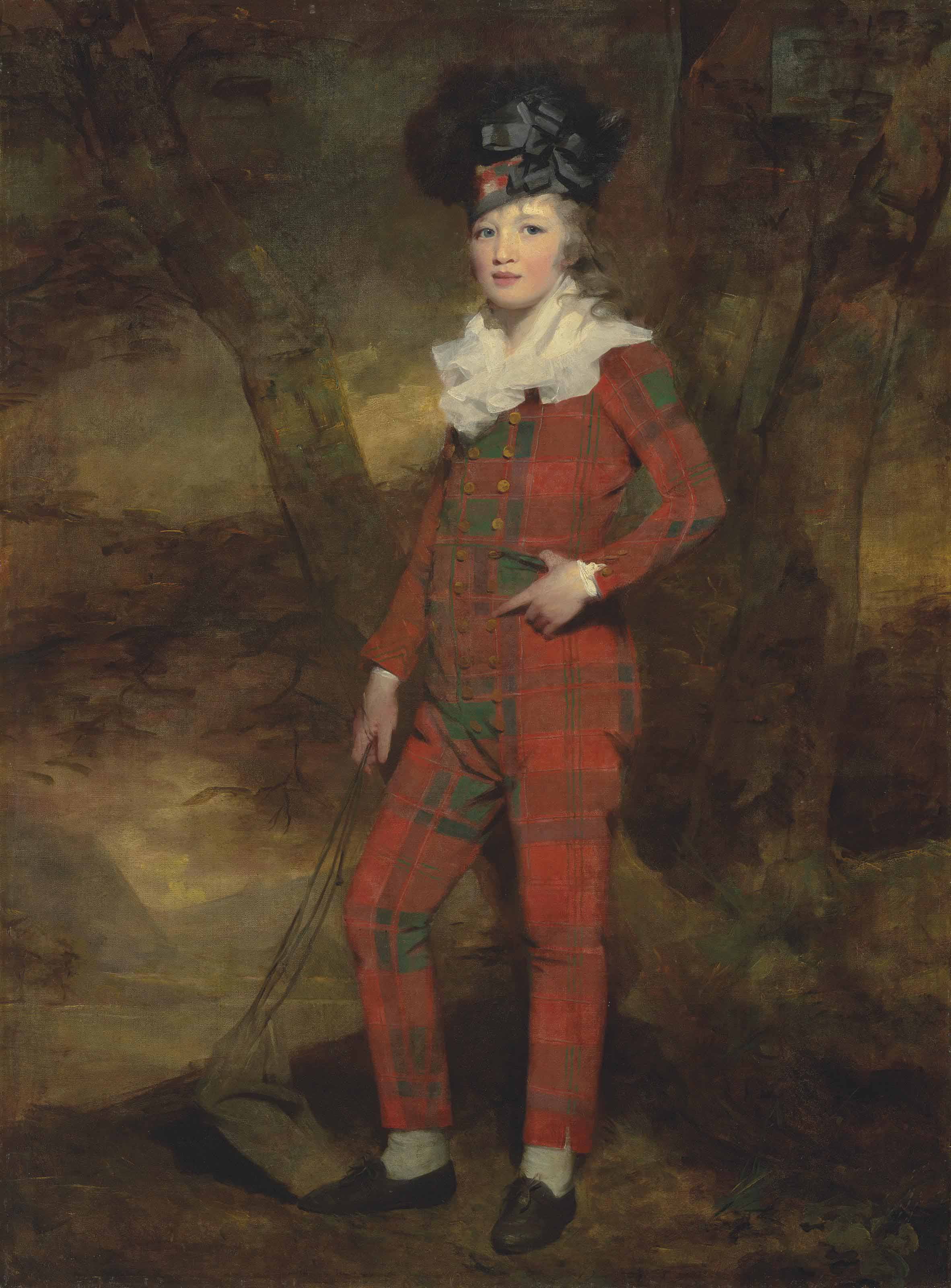 Portrait of Sir Evan Murray-MacGregor of MacGregor, 2nd Bt., K.C.B., K.C.H., 19th Chief of Clan Gregor, as a boy (1785-1841), full-length, in tartan, in a landscape