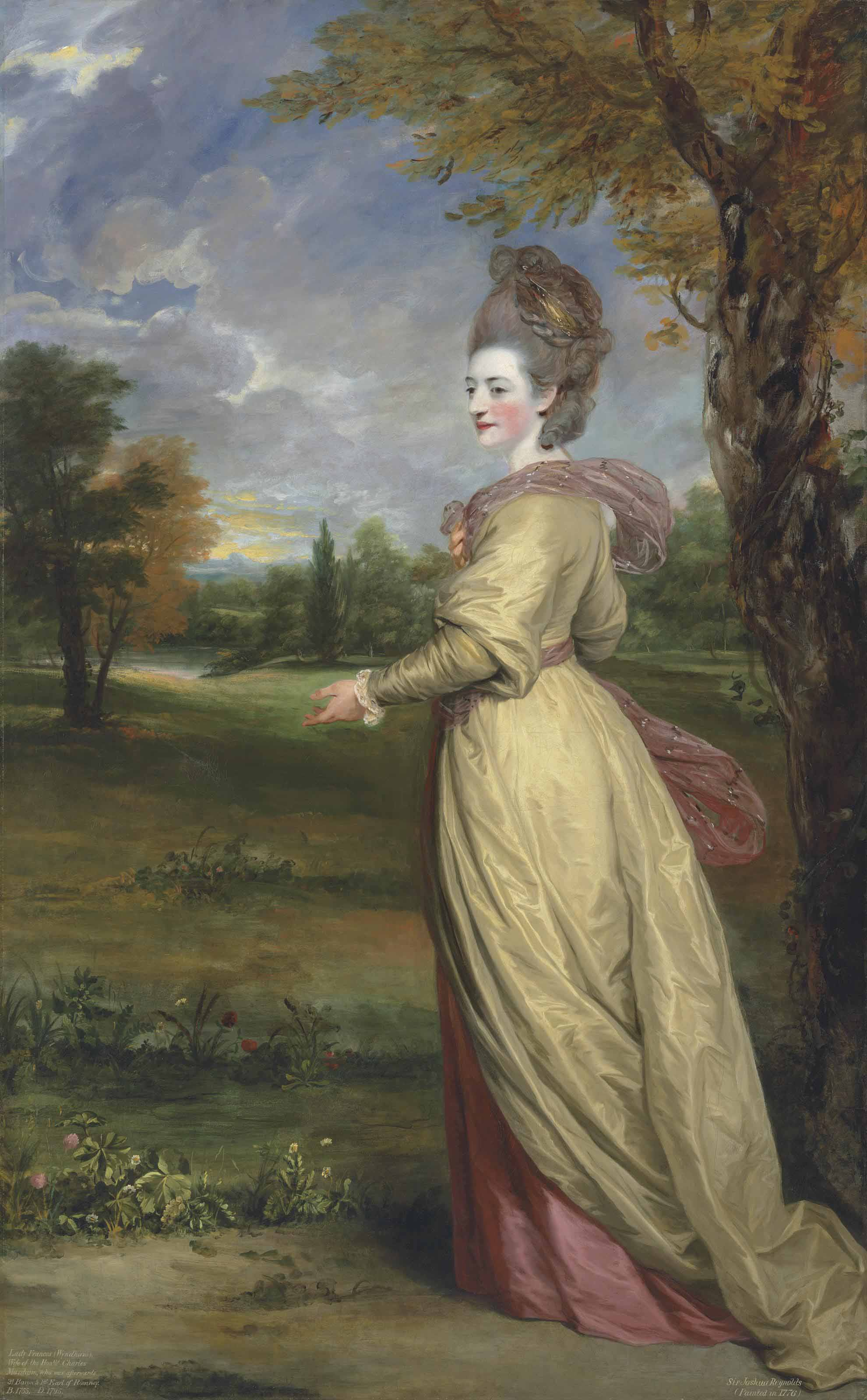 Portrait of Lady Frances Marsham, later Countess of Romney (1755-1795), full-length, in a yellow dress and pink shawl, in a park landscape