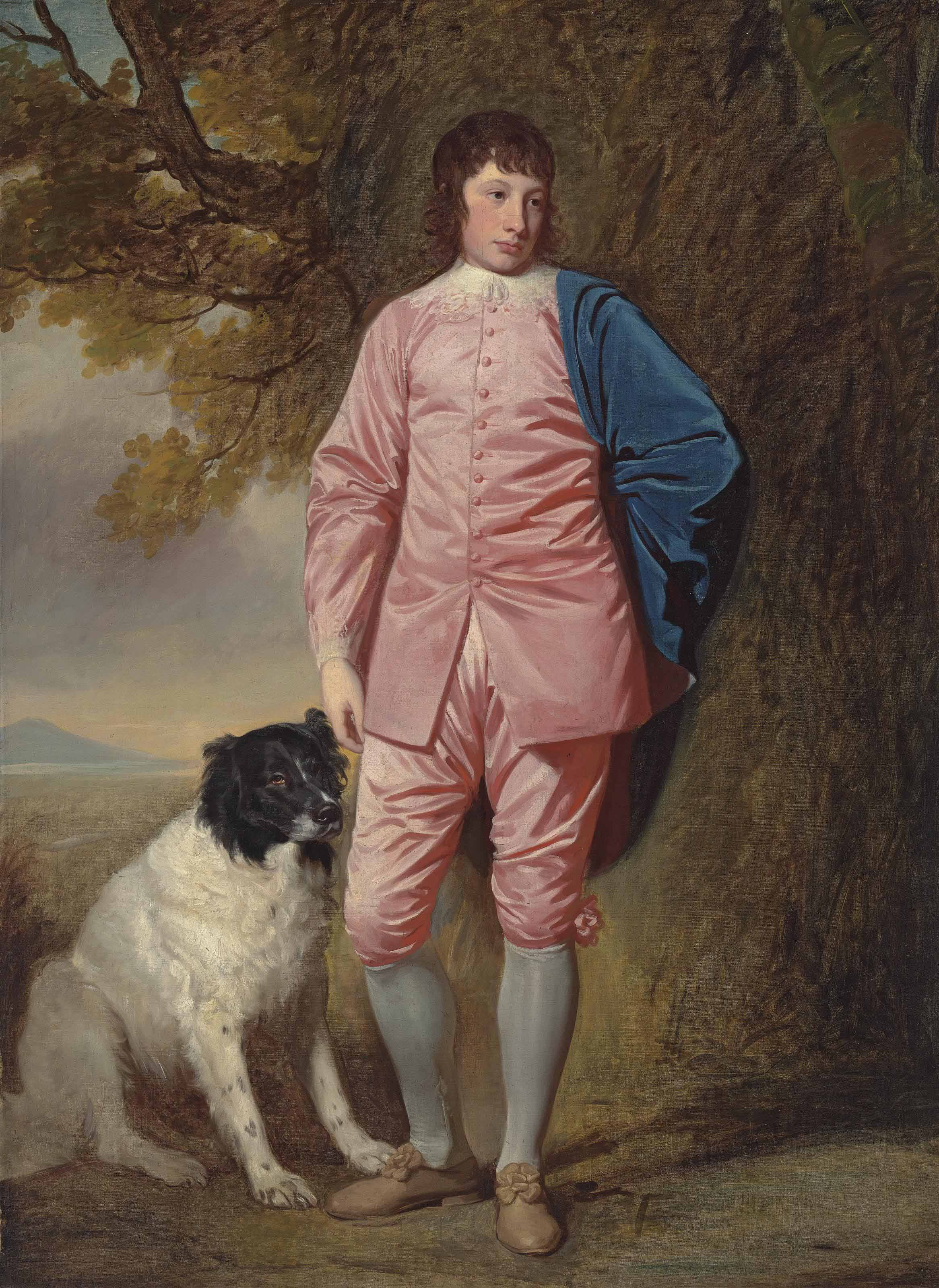 Portrait of Richard Newman Harding (1756-1808), full length, in a pink coat and breeches, with a dog in a wooded landscape