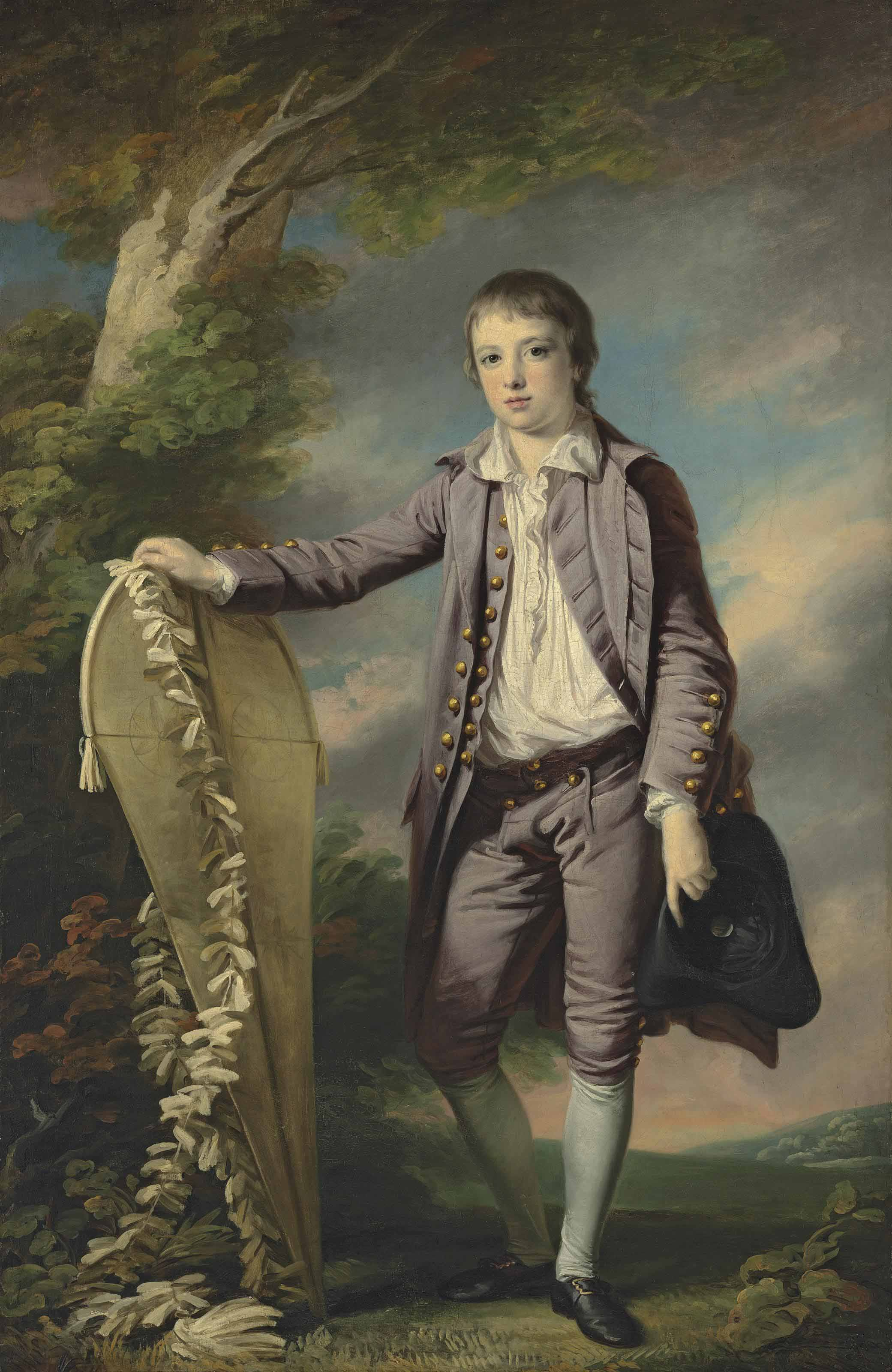 Portrait of Master Smith, full-length, in a mauve coat and breeches, his right hand resting on a kite, in a landscape