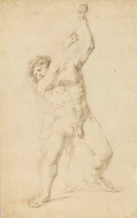 A standing academic male nude holding a stick