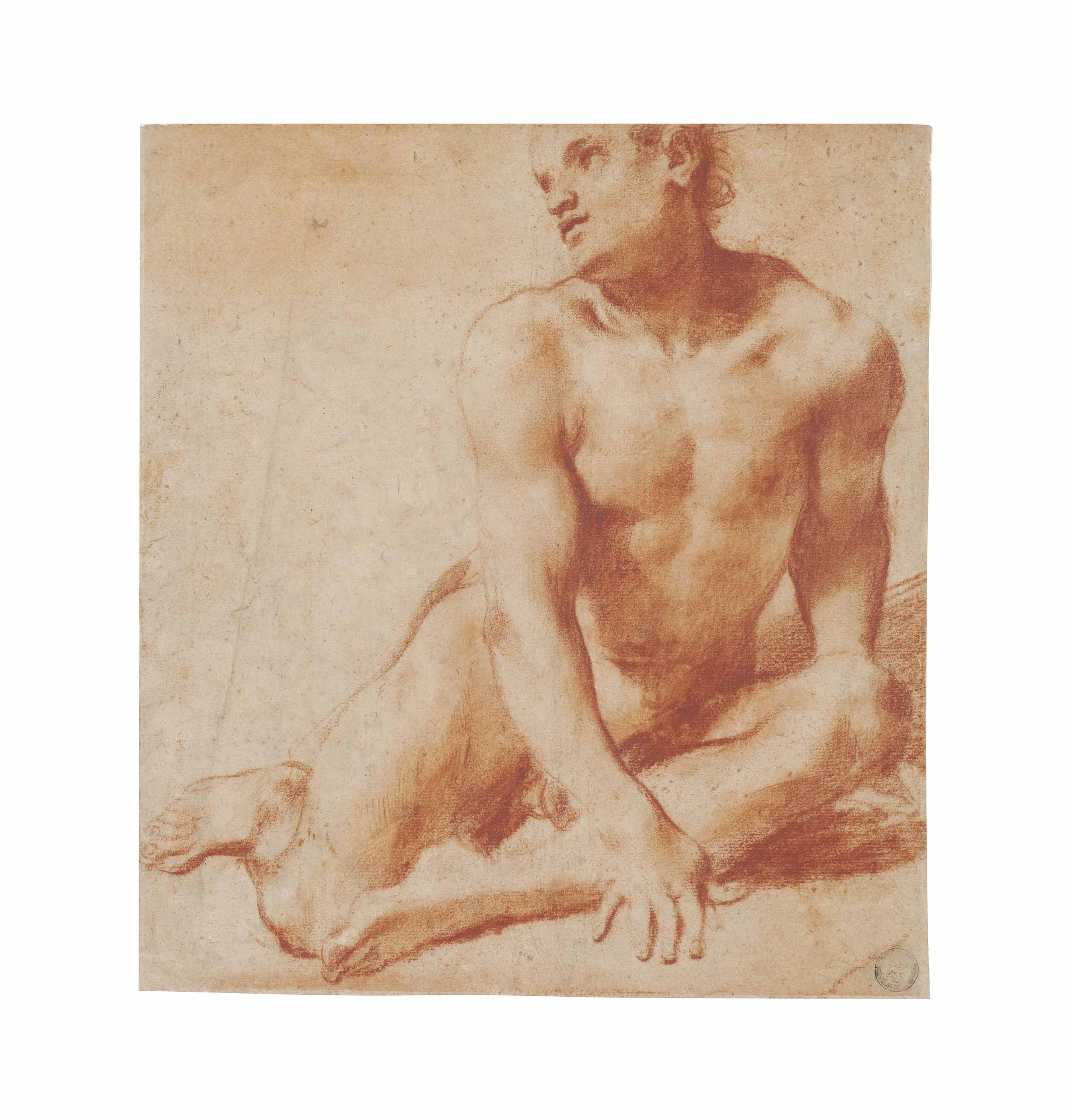 A seated male nude, looking up to the left