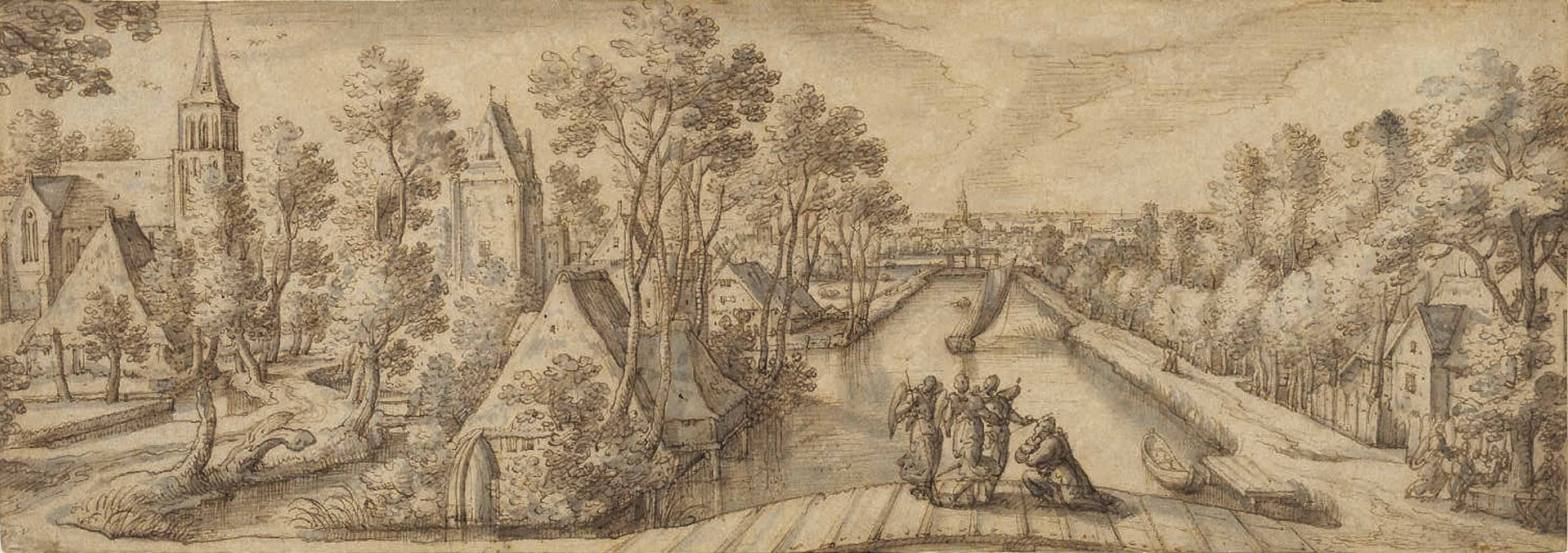 View of Delfgauw, with Abraham and the Three Angels